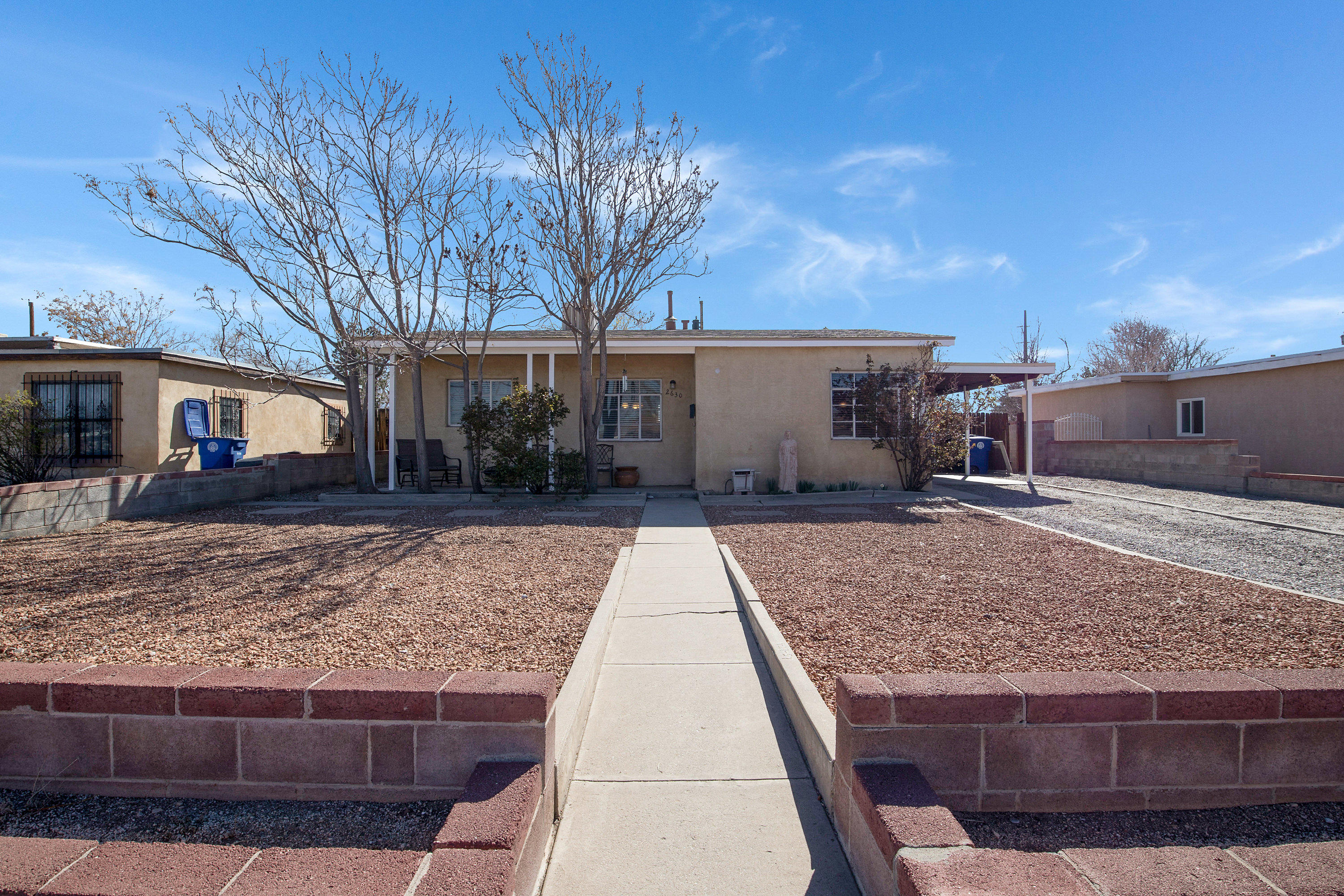 Lovely charming home is looking for a new homeowner to make happy!  The home showcases a spacious master bedroom that feels open and inviting.  Enjoy the freshly painted master bath and tastefully updated guest bathroom.  The kitchen flows well and lends itself to your cooking adventures.  Backyard access is possible. Enjoy some peace of mind with the newly installed roof as of Nov 2020!  The roof warranty is transferable!  If that wasn't enough, the new swamp cooler will keep you cool in the summer months!  Don't delay, view today!