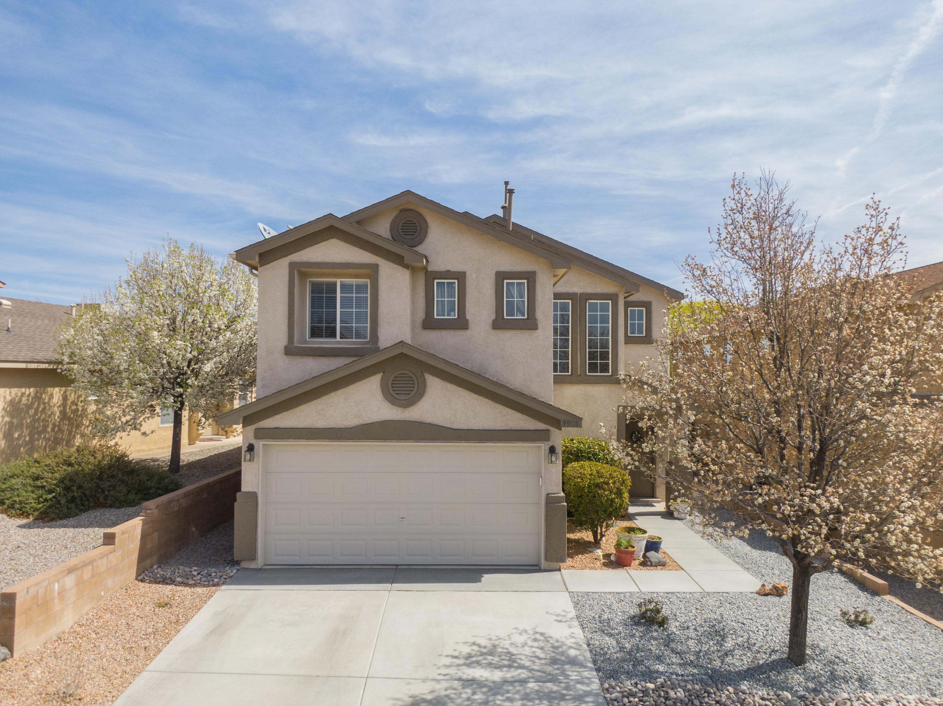 Open house on Saturday April 3rd 11:30am -2:00pm. Located in the Ventana Ranch West subdivision of Albuquerque NM sits this lovely two story DR Horton home. Featuring luxury vinyl flooring upon entry, updated kitchen and refrigerated air only a little over a year old. Home was recently replumbed.  Don't miss the walking paths and parks! This beautiful house is a must see!