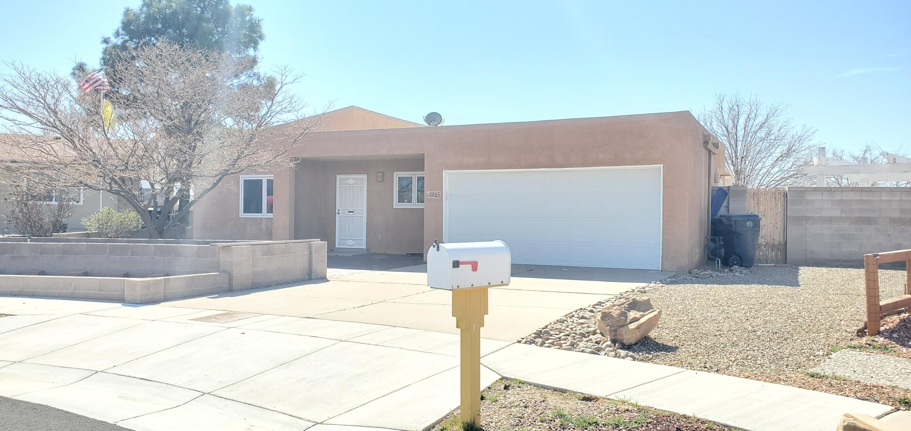 Great NE find! 4 bedroom in La Cueva HS Area with 2 car Garage. NEW TPO ROOF, New Refrigerated AC, New finishied Garage. Large Yard with Storage Shed, side yard parking available. Easy Access . Closest neighborhood to Balloon fiesta park!