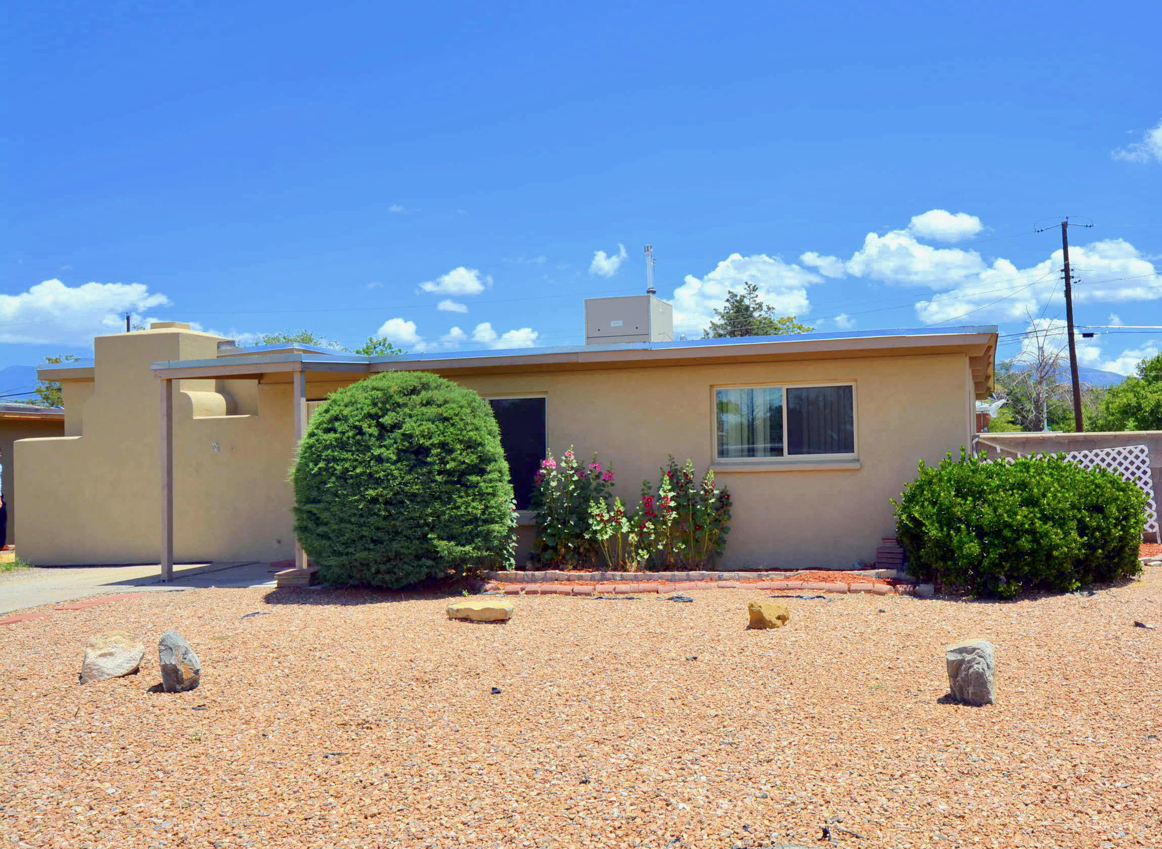 Great Starter home in incredible location! Walking distance to Coronado, ABQ Uptown, shopping and restaurants. Large corner lot with backyard access and room to expand.  2 bedroom 1 bath with tons of potential...Updated kitchen with tile backsplash, updated cabinets  Double-pane windows, central forced air. Washer and Dryer all convey as is.  Square footage obtained from County records and is subject to verification.