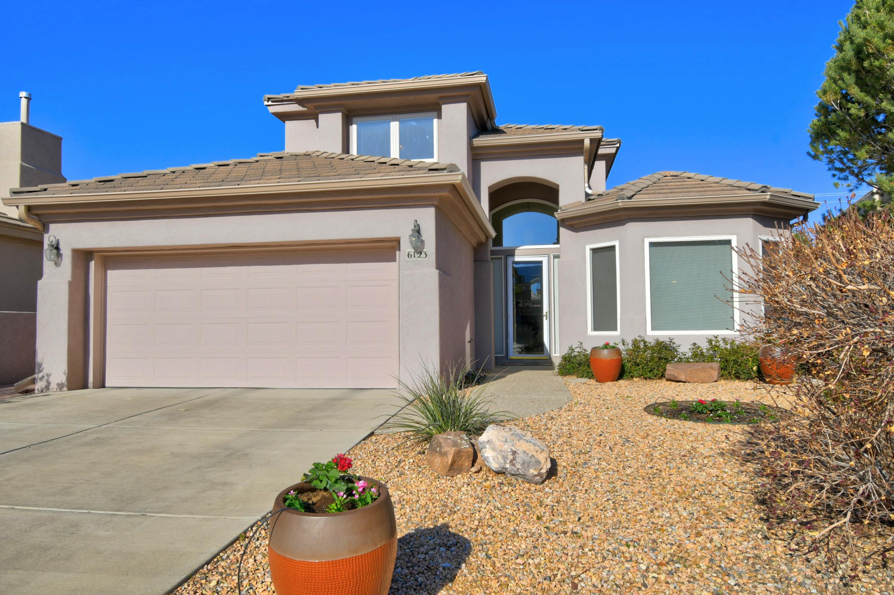 This well kept home is in the gated Trillium subdivision of High Desert with a private wonderful park. The master bedroom is on the main level with a large walk in closet.  Separate shower, tub and double sinks in the master bath.  Kitchen boasts granite counter tops, fabulous mountain views, a large eating area and custom cabinets.  Radiant floor heat downstairs and upstairs! Soaring ceilings in the living room and entry make this home feel very spacious. Easy care southwestern landscaping, a great garden and areas for your flowers!
