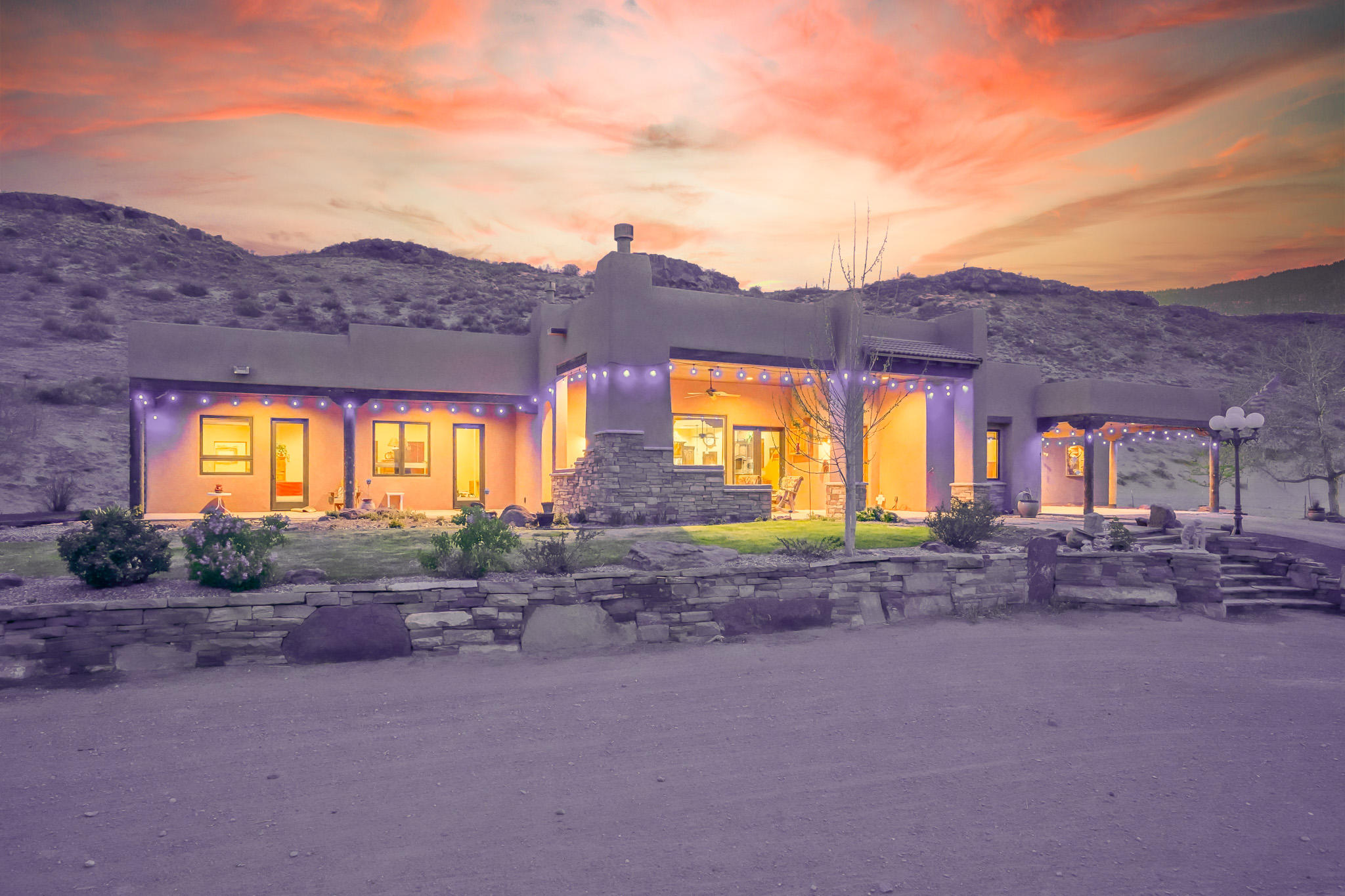 Beautiful setting on this 8 acre estate.   Custom single story Pueblo style home with great views of the Sandia Mountains.  Open floor plan and abundant sunlight throughout.  Radiant heat, Wonderful porch to enjoy the sunset.High quality finishes and great design make this gem a warm and inviting  retreat.  The kitchen is a chef's delight and features handcrafted alder cabinetry, high end stainless steel appliances, and granite counters. Ditch irrigated fully fenced pasture, a 2 stall barn with hay storage and a tack room complete this peaceful retreat.