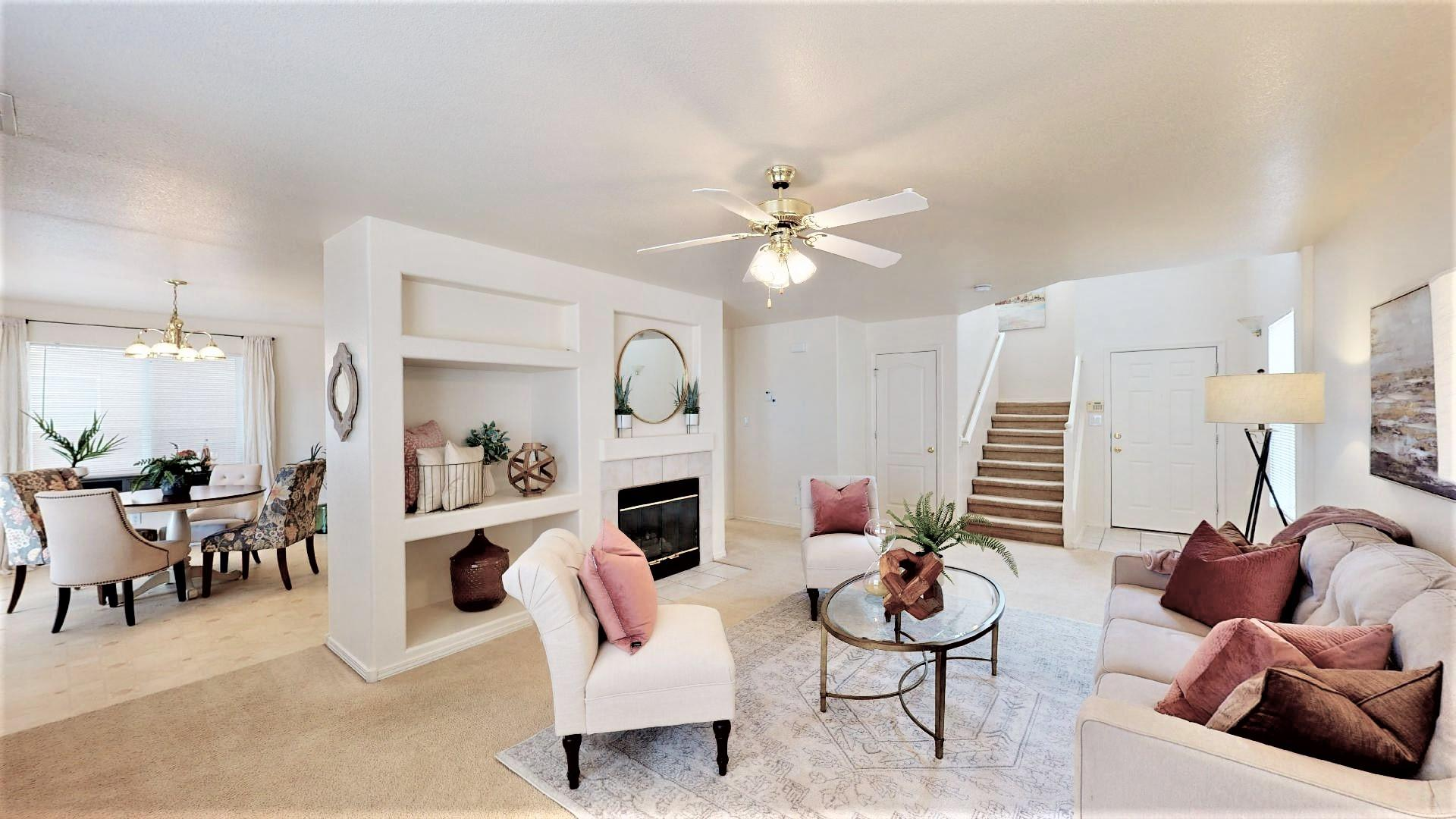 Spacious, light and airy!  This home offers ample sized bedrooms - all with walk-in closets, nice views, and easy commute to Paseo Del Norte.  Large master bedroom overlooks park and open space.  All this within a quiet gated community.  It is ready for you to make it your own!