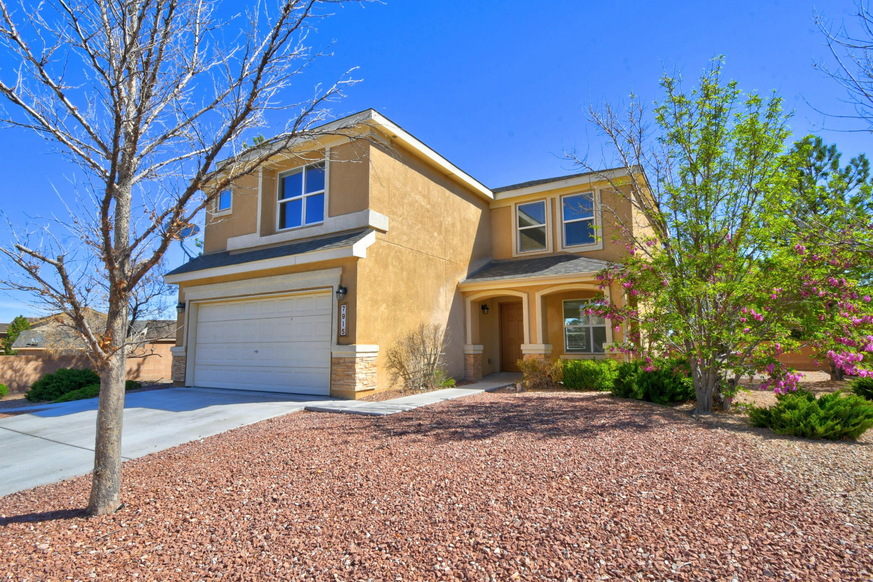 Former Pulte Model has had repairs and is ready to go! New stainless steel range/oven and microwave with solid surface counters in the kitchen. No carpeting down stairs. Fresh interior paint. Mountain views!! Large cul-de-sac lot ready for a swing set or a pool!!