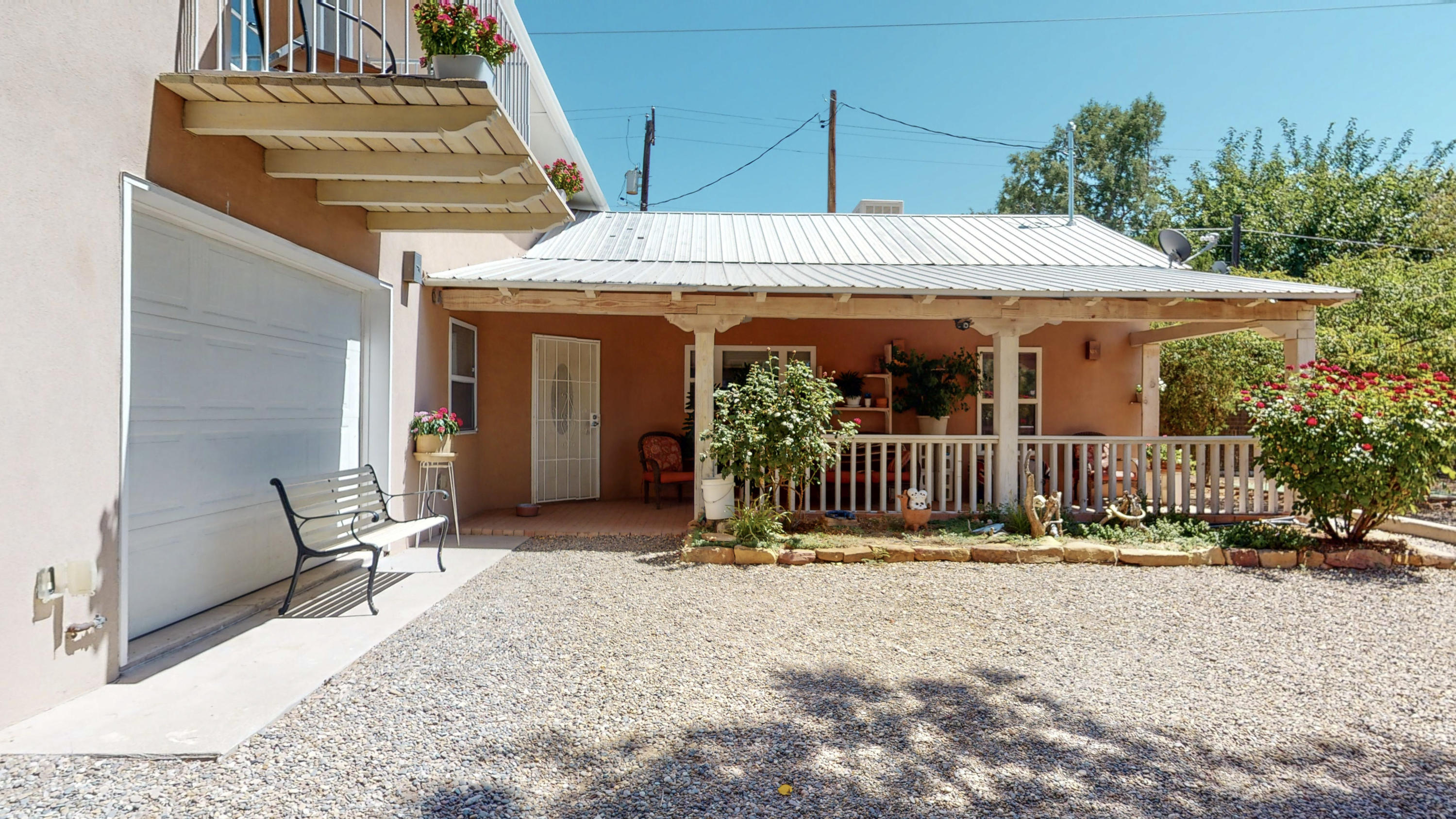 A treasure in the sought after downtown/OLD TOWN area. Newer Northern New Mexico- Queen Anne house filled with lots of charm and  natural light.This 16 year home has a wonderful open floorplan, kitchen with large pantry & appliances conveying with the property. Dining & Living Rooms are light filled with neutral tile floors. Separate Owner Suite-.Upper floor has additional bedroom/office, large bathroom, jetted tub,walk in closet, a lovely balcony. The garage, included in the heated footage is great for your car or hobbies. Sauna on 1st floor .Built for quiet privacy. Historic Old Town is a Pedestrian district - with so many things to do. Museums, Shopping, Bicycling and Downtown is a few blocks away- as well.  Radiant Heat and Solar Too! What a Property!