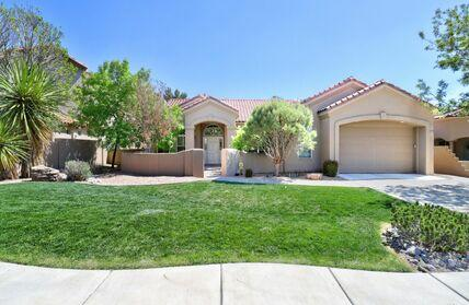 Single Story CUSTOM HOME in HIGHLY Sought after PRIMROSE POINTE!  4 Bedroom, 4 Bathrooms. All Bedrooms have private bathrooms. BACKS UP TO OPEN SPACE  with VIEWS of the City and Mountains from backyard. Quality new Carpet with upgraded pad in all carpeted areas 2020. Two (2) NEW  refrigerated A/C April 2021! New Oven/Convection!Newer 2019 Modified Bitumen Back Patio roof! Skylights back patio! Newer 11/2020  75 Gallon Gas Hot Water Heater w/instant recirculating pump.  8 foot Interior Doors! Diamond Plaster accents. Custom Fireplace Gas Log . Built in TV Center with bookshelves Huge 45'x10' Backyard Covered Patio. Radiant Heat with 6 zones, Oak wood Floor, Tiled floors, Pitched Roof. Courtyard. Kitchen Granite eating Bar.   Great Floorplan! Great School District.Walking trails.
