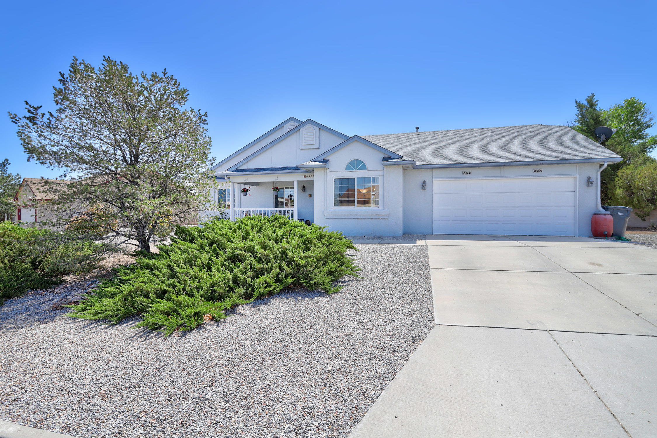 Light and bright 3 Bedroom, 2 Bath home in Enchanted Hills. Vaulted ceilings in the Family Room add to the spacious, open feel. The Kitchen has a pass thru counter to the Dining Area. There's even room for a table in the Eating Area. The Master Bedroom has two large closets and a private 3/4 Bath. The Full Hall Bathroom serves the additional 2 Bedrooms. The .289 acre outdoor living space is exceptional, featuring a large covered patio, extended patio space with a pergola, firepit area & sideyard space for extra parking or RV. Large attached 2 car garage where laundry is located. Very well maintained. Conveying in AS IS condition. Seller providing 1 year home warranty with Key Estates for buyer peace of mind. So convenient to schools, shopping, restaurants and access to I25. Welcome Home!