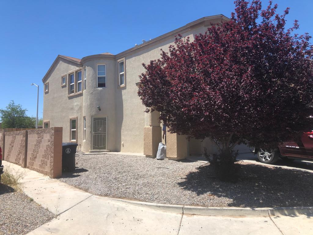 Great opportunity to own a 4 bedroom home with an open floor concept in Atrisco neighborhood. Master bath has a double sink and garden tub plus walk-in closet. The kitchen has a gas stove and a pantry. High-end washer and dryer convey to lucky new owner. Gated backyard. Corner lot. Refrigerated air. Move-in ready. Low maintenance xeriscaped fenced backyard. OPEN HOUSE Wed.May 3, 3:00PM -5:00PM