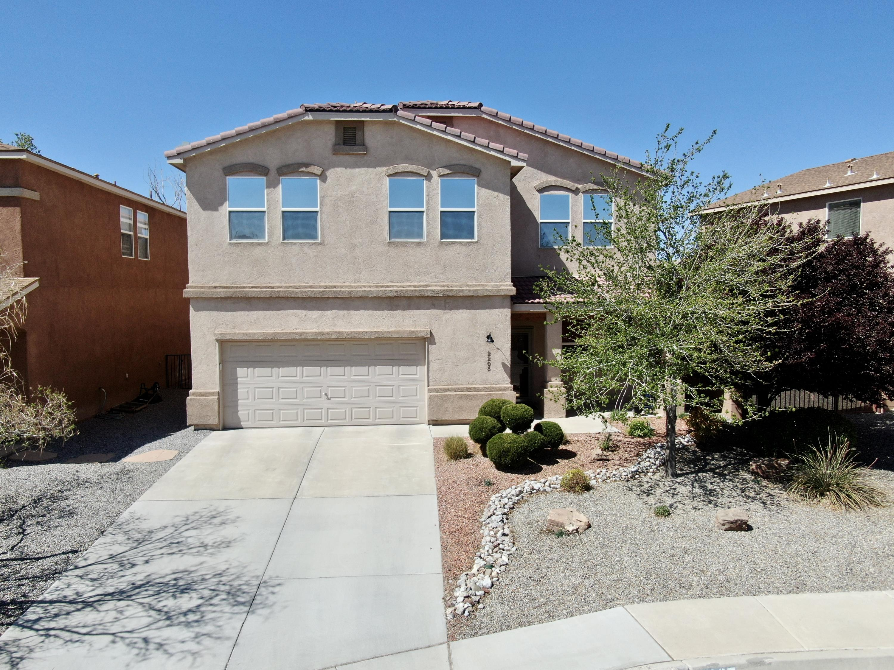 Beautifully upgraded home fully landscaped on a quiet cul-de-sac in Cabezon. Warm tones throughout. Tile throughout entire main floor. Open kitchen/dining/living room is perfect for every day living and entertaining. 42 inch maple cabinets and solid surface counters. Pull out drawers in all lower cabinets. Five large bedrooms w/ terrific closet space upstairs. Hall bath has double sinks.Master retreat has a lg adjacent bathroom with double sinks, soaking tub, separate shower and enormous walk-in closet. Ceiling fans and crown molding throughout. 2.5 car garage & tons of storage. Gorgeous backyard w/oversized patio for year round entertaining. This is a one of a kind at an amazing price! Inspections and repairs done
