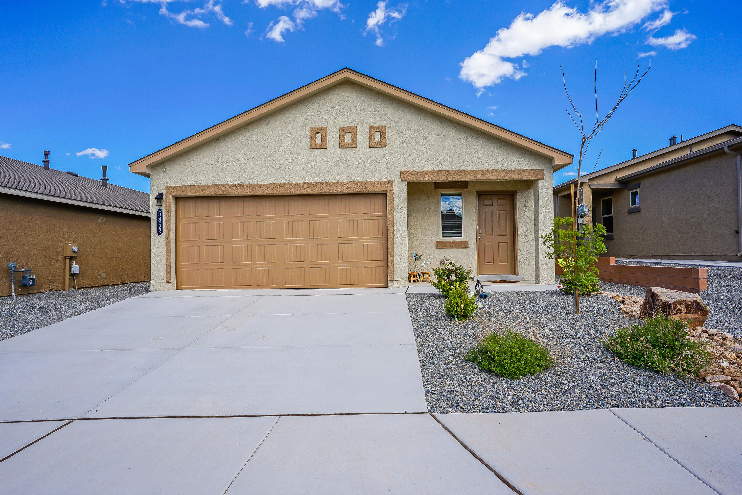 Come home and relax in this peaceful, quiet, Enchanted Hills neighborhood.  This 2019 Diana by D.R. Horton is a 3 bedroom, 2 bath, open  concept home with a private principal suite and bath, refrigerated air, a tankless water heater and it includes the Connected Home Package for added comfort and security.  It has a  low maintenance front yard and the backyard is ready for your touch.  Many warranties still apply, and all appliances will convey!