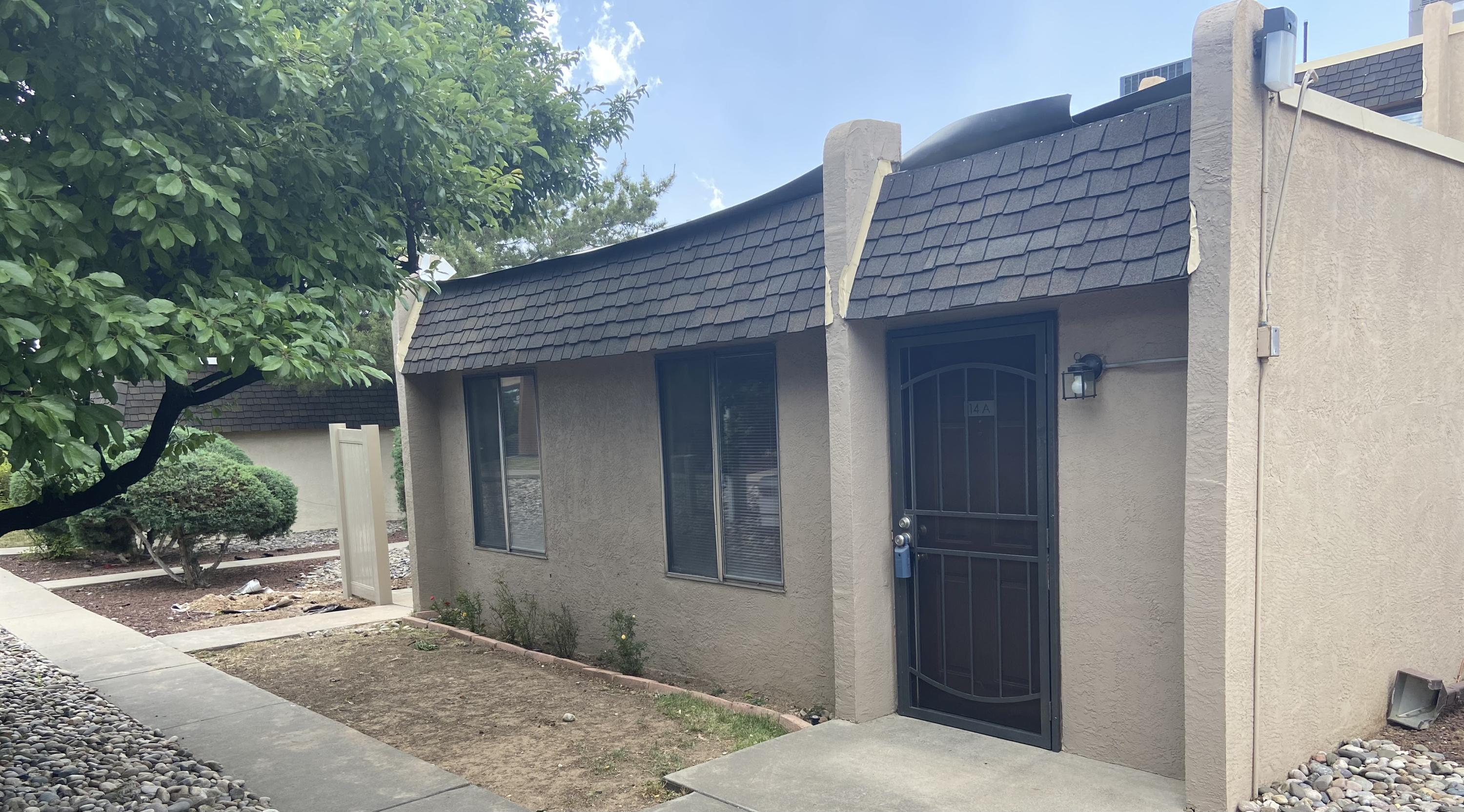 Cute one story Condo in the Del Sol Condominium Complex!  This approx 950SF home has 2BR's and 1BA, nice wood laminent flooring in living room and bedrooms, tile in kitchen and bath.  Private patio! NEW ROOFS BEING INSTALLED BEGINNING  MAY 6TH AND ALL WOOD FENCES SURROUNDING THE PATIO ARE BEING REPLACED SOON WITH AN ALL WEATHER FENCE. All appliances stay! HOA covers the roofs, stucco, fences and common areas, water, trash and sewer. Community is conveniently located to shopping, minutes to I-40 and I-25.