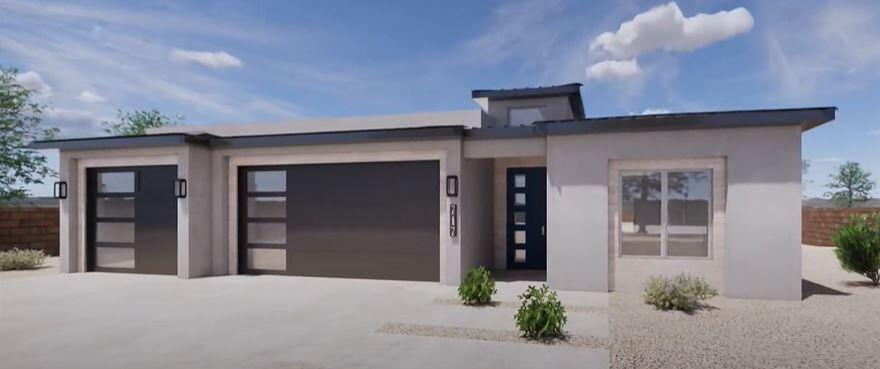 Under construction.  Photos are from a 3D rendering & videos from a  model.  This gorgeous new home is being built with your comfort and contemporary style in mind. From the curb you'll notice a 3-car garage with tall 8ft doors with 5-frosted-glass panels. The sharp sleek lines of the house come from the synthetic stucco, tile accents, metal and TPO roofing.  Get on board now while there's time to pick colors and amenities.  Inside the house are comfortable features like refrigerated air, open kitchen, spacious rooms, with extra tall ceilings, and there are exciting extras like Wi-Fi garage door openers, ring doorbell, breathtaking accented tile work, granite, wall oven, full SS GE kitchen appliance package, 36''cooktop, built-in mini-blinds, gas stub out, and deep shady covered back pat