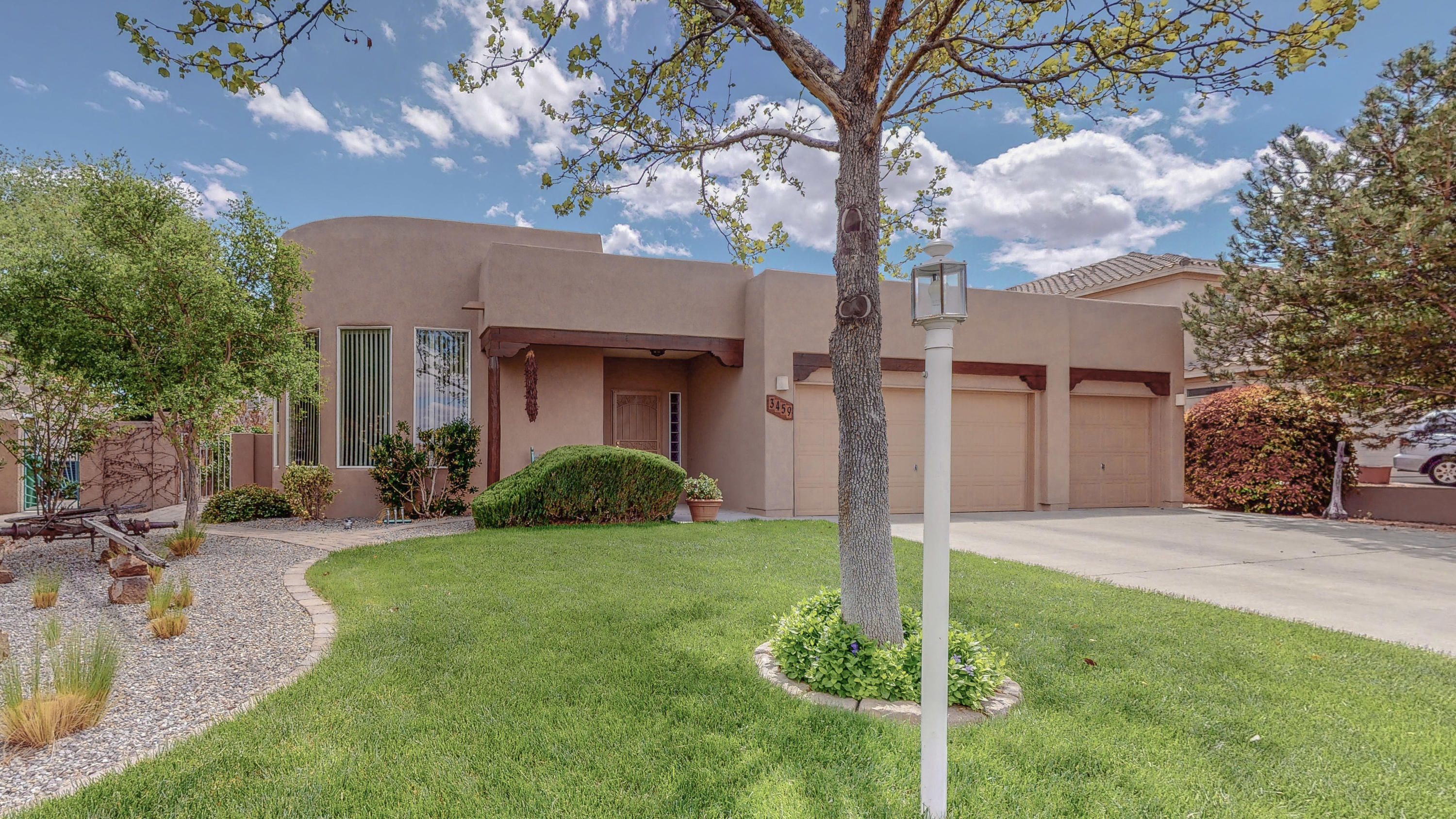 Do not miss this opportunity to own a home in the desirable Stonehenge Subdivision. This well maintained single story home features vaulted ceilings with exposed wood beams, a cozy kiva fireplace, and tray ceilings in the formal dining room and master bedroom. Open kitchen with island, granite countertops, walk in pantry and plenty of cabinet space. Home has custom rounded walls off master bedroom opening up to a backyard oasis of flowering plants and trees with a large covered patio. New roof, AC, Furnace, and stucco in 2018. Stainless steel refrigerator, microwave, and washer and dryer convey with the home. Schedule your showing today!