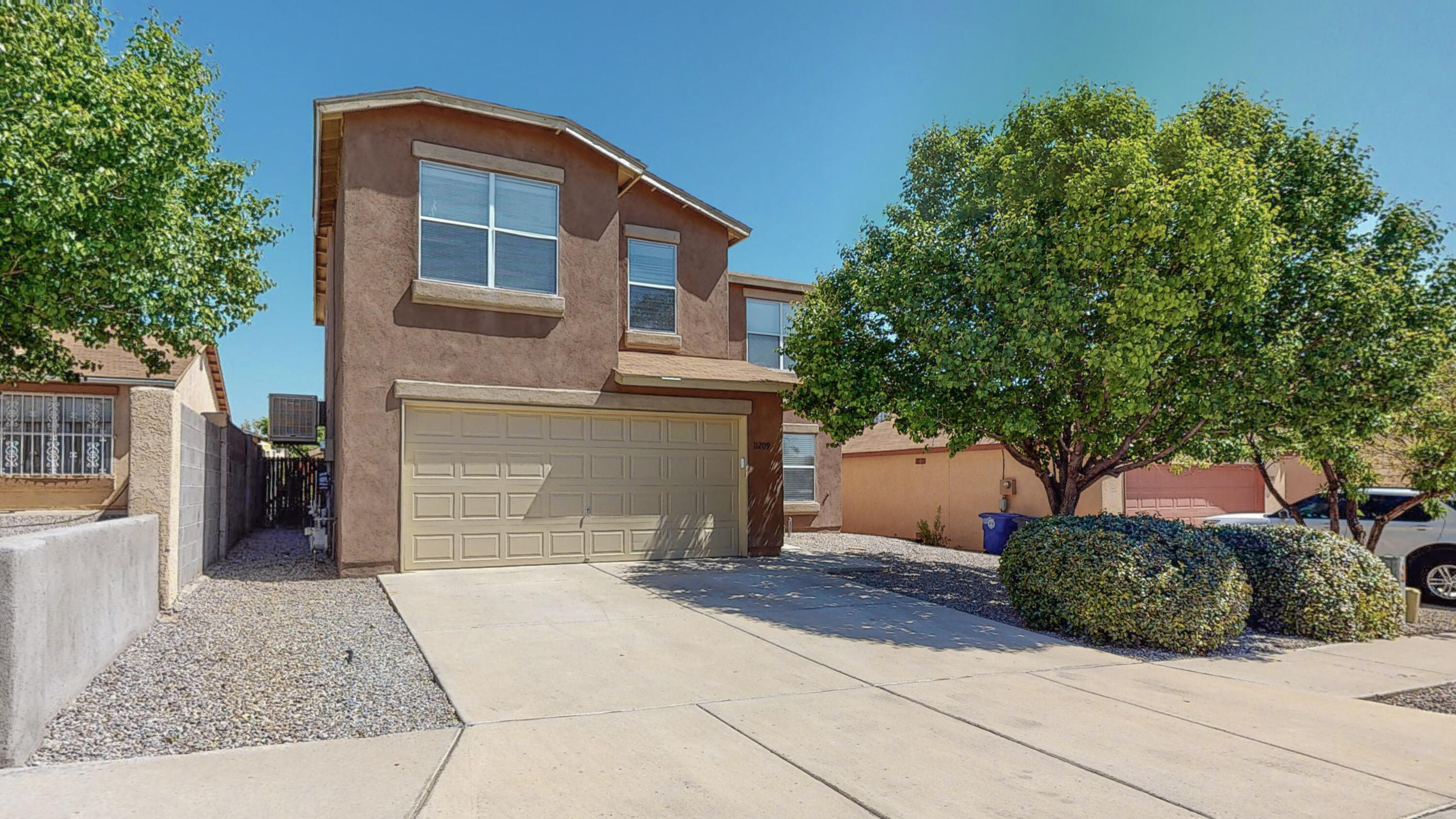 This 4 bed/2.5 bath home is located on a quiet cul de sac in the South Valley near shopping, restaurants, and schools. The open downstairs floorplan features tile in the kitchen & laminate flooring in the spacious living area. The kitchen appliances along with the washer/dryer convey. This home has a great sized MBR that has a walk-in closet, double sinks, a garden tub, and separate shower. Fresh new paint, ceiling fans, newer: stucco, evaporative cooler, and water heater. The finished two car garage includes storage cabinets and a work bench. The landscaped back yard includes a 10x10 storage shed, large, covered patio (with new metal roof) and is great space for entertaining. Do not miss this opportunity to make this house your HOME! Pre-Listing Inspection has been completed.