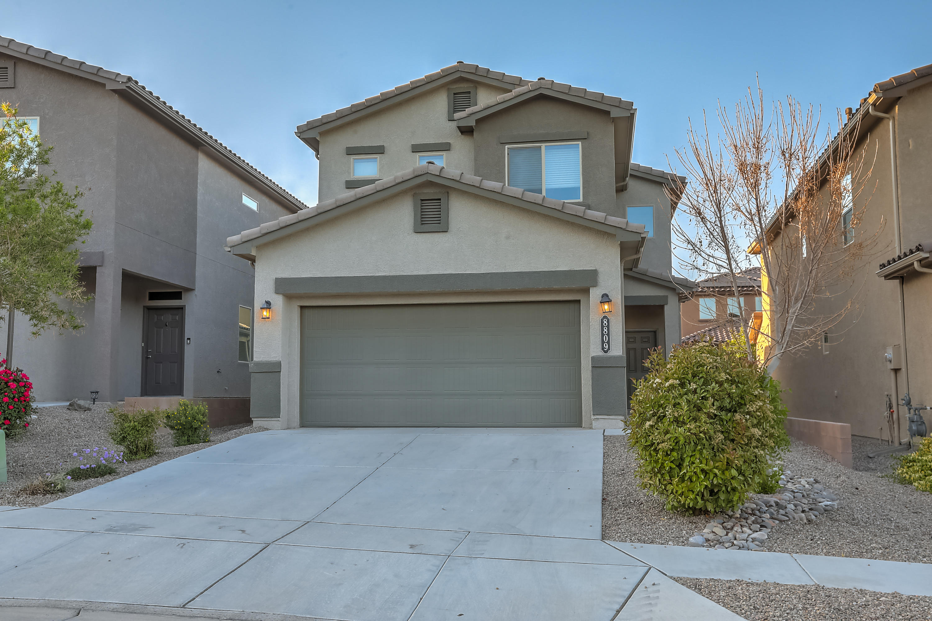This home is ready for new owners! This DR HORTON built in 2016 has refrigerated a/c, vinyl flooring, newer carpet, granite counter tops, stainless steel appliances and so much more! Enjoy entertaining in this open concept floor plan and large living space.  The Master suite is large with en suite featuring double vanity, walk in shower, and walk in closet. The additional two bedrooms are well sized.  Don't miss the upstairs laundry room, plus the washer and dryer stay! Enjoy the covered patio and landscaped backyard offering a slight view of the mountains.  Location offers quick access to parks, trails, and I-40. This one won't last long!