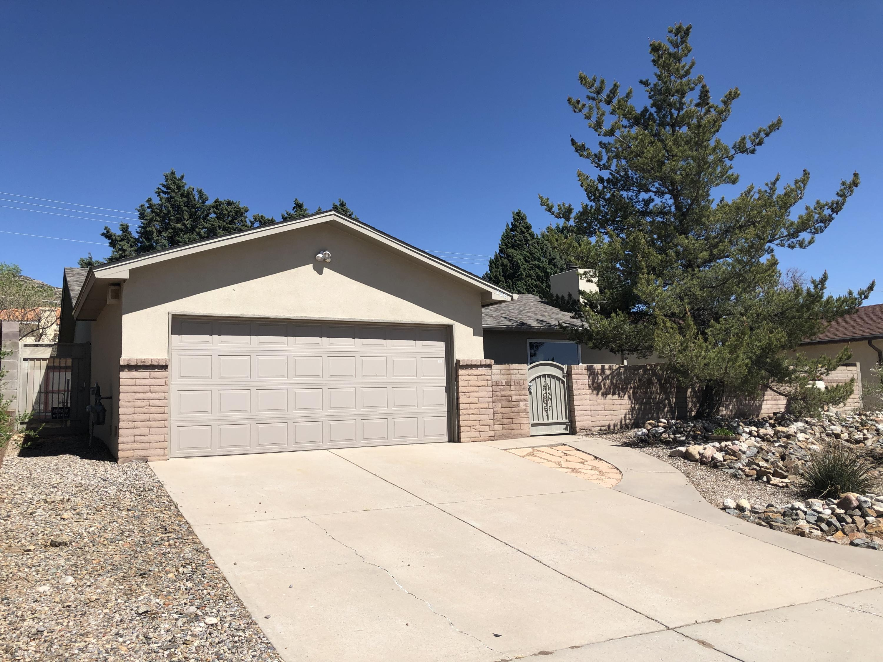 Well cared for home with 3 year old roof and stucco. New laminate floors. Backyard is a perfect getaway with the cover patio and separate first and grilling area. Large shed and work bench in Garage. Beautiful sunset views from the front courtyard. Come see this charming home today.