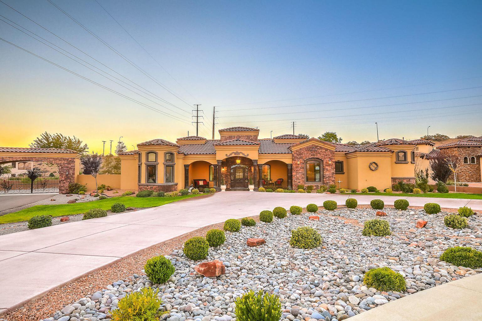 Welcome home to this breathtaking custom Tuscan residence in thesought-after neighborhood Black Farm Estates. This beautifulgreen-built home sits on 1.28 acres and will amaze you with itsluxurious details and exquisite interior finishes including elegantdrapery, opulent chandeliers, Cantera stone columns, a magnificentcustom metal entry door, and custom textured walls with designer suedepaint throughout. This home boasts 4 large bedrooms, each with its own ensuite bathroom and walk-in closet. The dedicated master wing offers a large master suite with a spa-like bathroom, complete with a palatial walk-inshower, custom vanities, and spa jet tub. The kitchen is a chef'sdelight and designed for entertaining with bar seating, customcabinetry, oversized island, and butler's pan