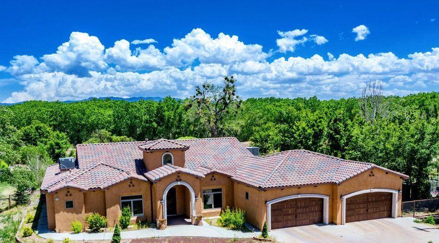 This  Gorgeous custom home in the sought after Mid-Valley Air park neighborhood of Los Lunas sits in a truly unique private setting on just shy of an acre of property backed up to the Rio Grande. Inside you will find a bright and open floor plan with custom touches throughout. The kitchen will wow you with beautiful cherry cabinetry, granite counter tops, and stainless appliances. The Master suite boasts his and hers closets, large jetted tub, and amazing counter space. One of the other four bedrooms has an en suite bathroom as well perfect for an in-law suite or guests. Enjoy your evenings on your patio with wonderful outdoor kitchen followed by a soak in the hot tub over looking your serene river front property and beautiful views of the Bosque! All just a 30 min. drive to Albuquerque