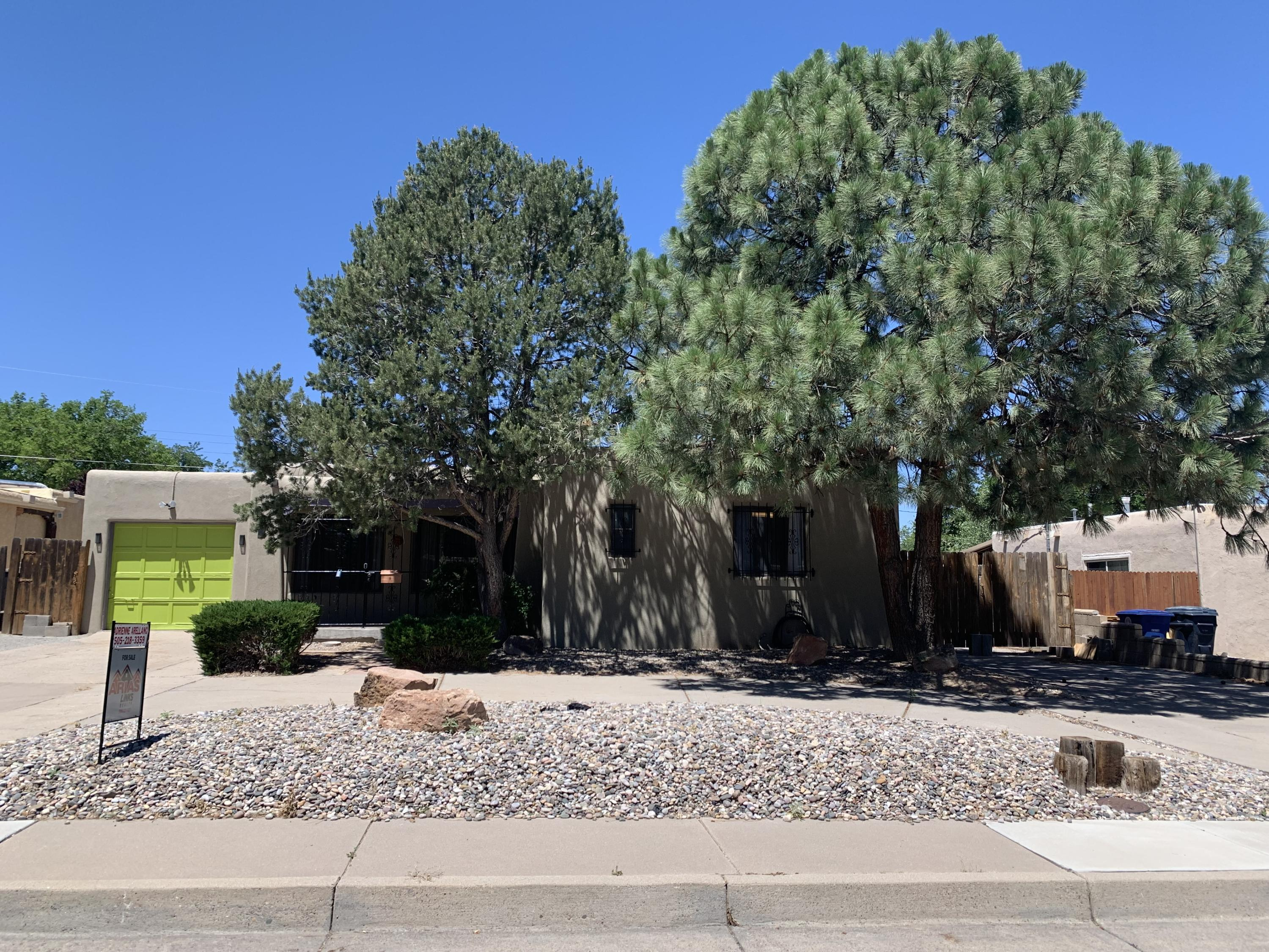 Charming 2, possible 3 bedroom home with fully landscaped yard.  3rd bedroom could be used as office/den.  Newer appliances, roof and stucco.  Refrigerated air a plus!  Home has side yard access that fits a full size RV.  Home sold as is, needs interior work and cleaning.  So much potential!