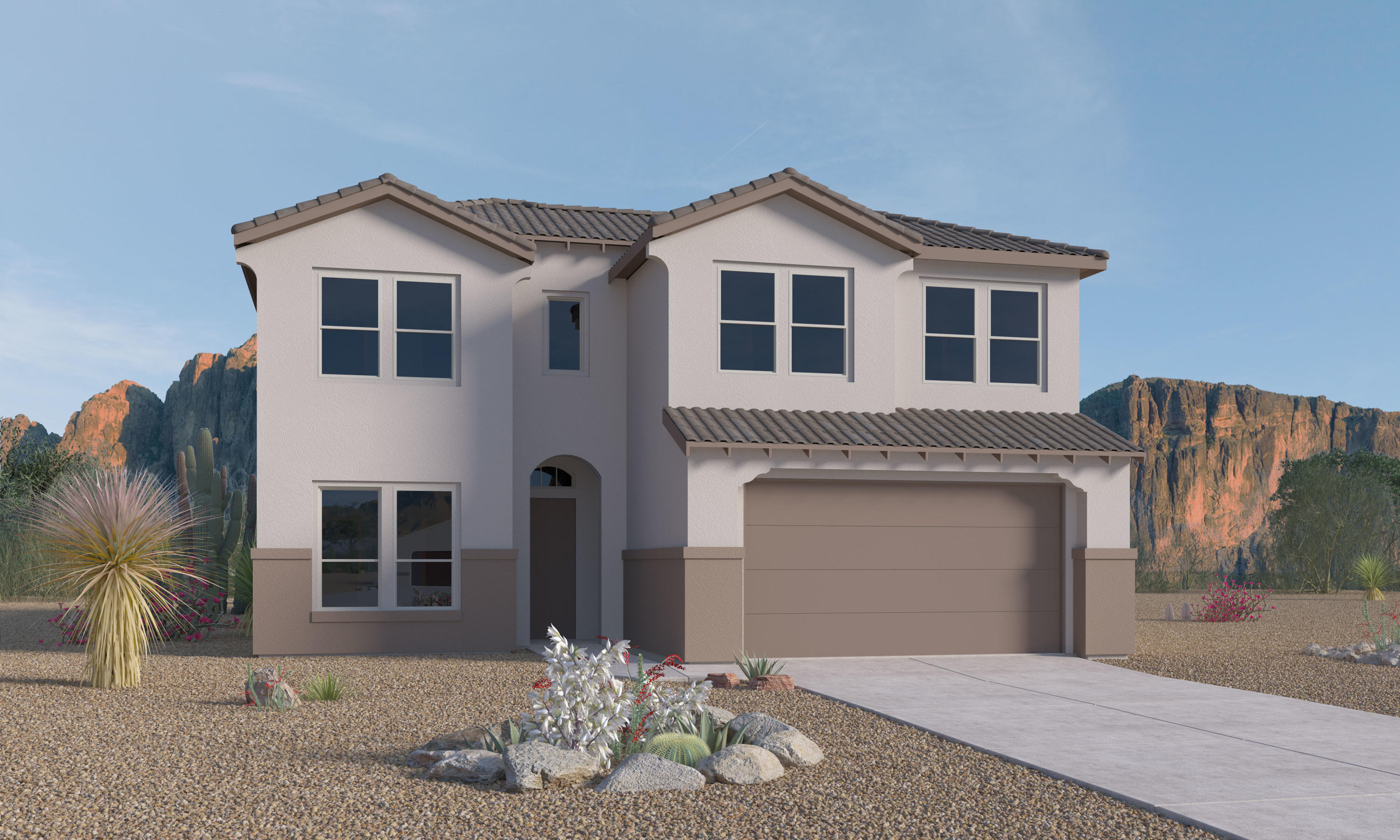 This open Zen floor plan is under construction in Mariposa. Estimated completion this year in time to enjoy the luxury lifestyle of parks, pool, fitness center and open space. Features a Gourmet Kitchen with dark cabinets  and grey subway tile backsplash, built in Stainless Appliances with 5 burner cooktop, Granite Counter tops and a large Island to gather around. Huge walk in pantry. Slate colored 18 x 18'' ceramic tile throughout home except bedrooms and Loft.  Owner suite and one bedroom down, with loft and 3 bedrooms upstairs.  Tile walk in shower in owner suite with double sinks. 9 ft Sliding glass door off of the Family room leads to covered patio.  Big 3rd car tandem garage for cars or toys.   Just 5 minute walk to pools and trails. Model home open daily to see specs.