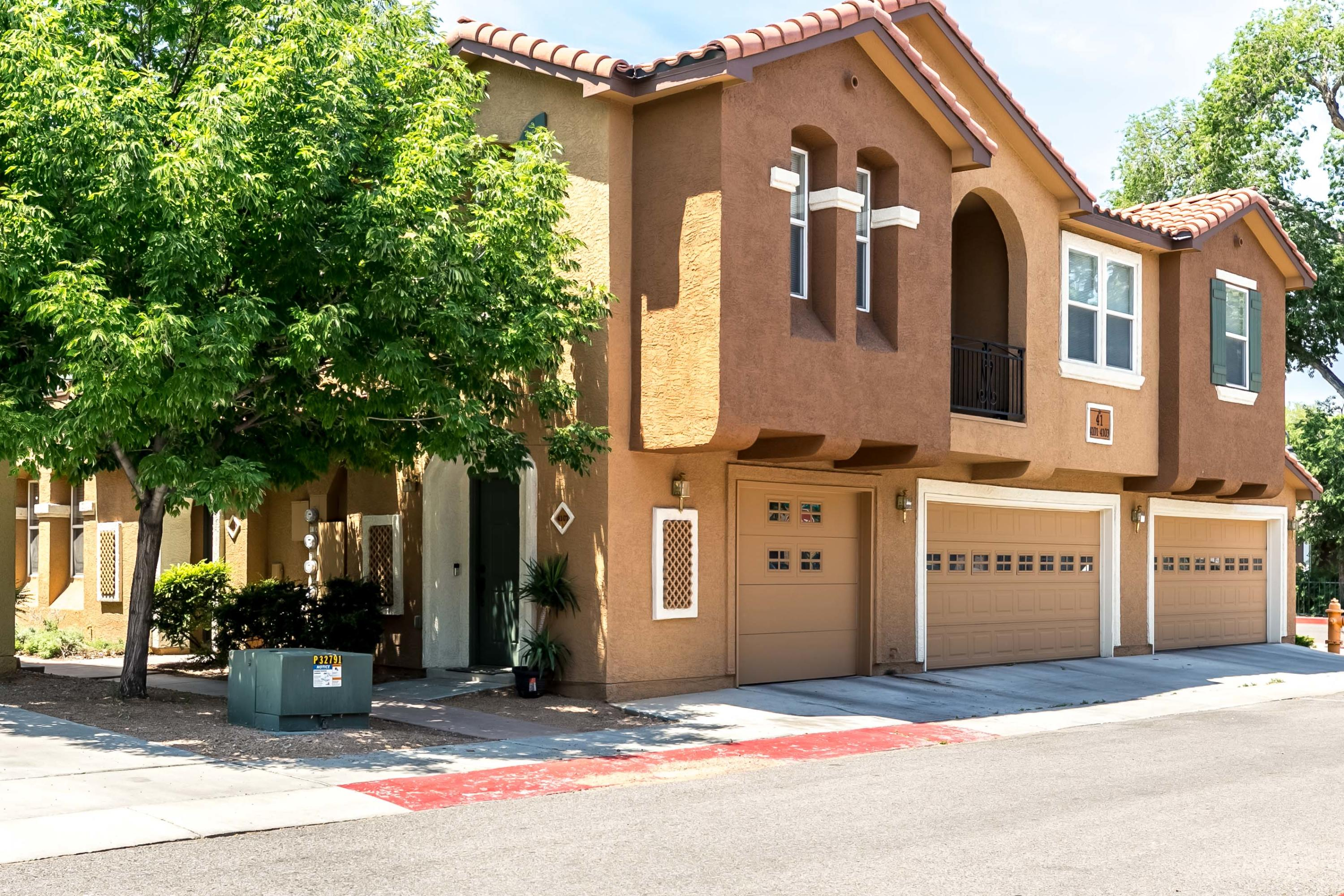 Beautiful home in the Villas gated community.  Lots of amenities are available including a community POOL!  The main floor has an open floor plan with an open kitchen and eating area near the living room and a main floor bedroom with full bathroom.  Upstairs is the master suite with full bath and the other bedrooms.  The home was just freshly painted and has elegant flooring.  Enjoy the outdoors in your own private patio area or hang out near the pool!