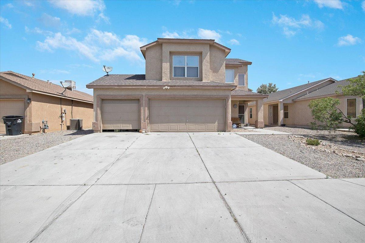 Country living with city conveniences!  Located in Los Lunas near UNM Valencia campus and 30 minutes from Albuquerque.  Craving space? This home has it all!  An open floor plan with two living spaces and a 3 car garage. The main level features a large great room, dining and a spacious kitchen with walk in pantry. The upper floor features a spacious primary suite with luxurious bath and walk in closet. A second family room and two more bedrooms and a full bath complete this second floor. The fully fenced yard has tons of room for all sorts of activities.