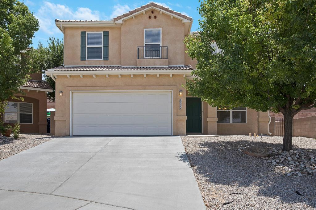 This wonderful four bedroom home has an open floor plan with high ceilings. One bedroom on the first floor and three bedroom on the second floor and a loft. New carpet. Move in condition. Pitched tile roof. Relax in the garden tub. Balcony views.