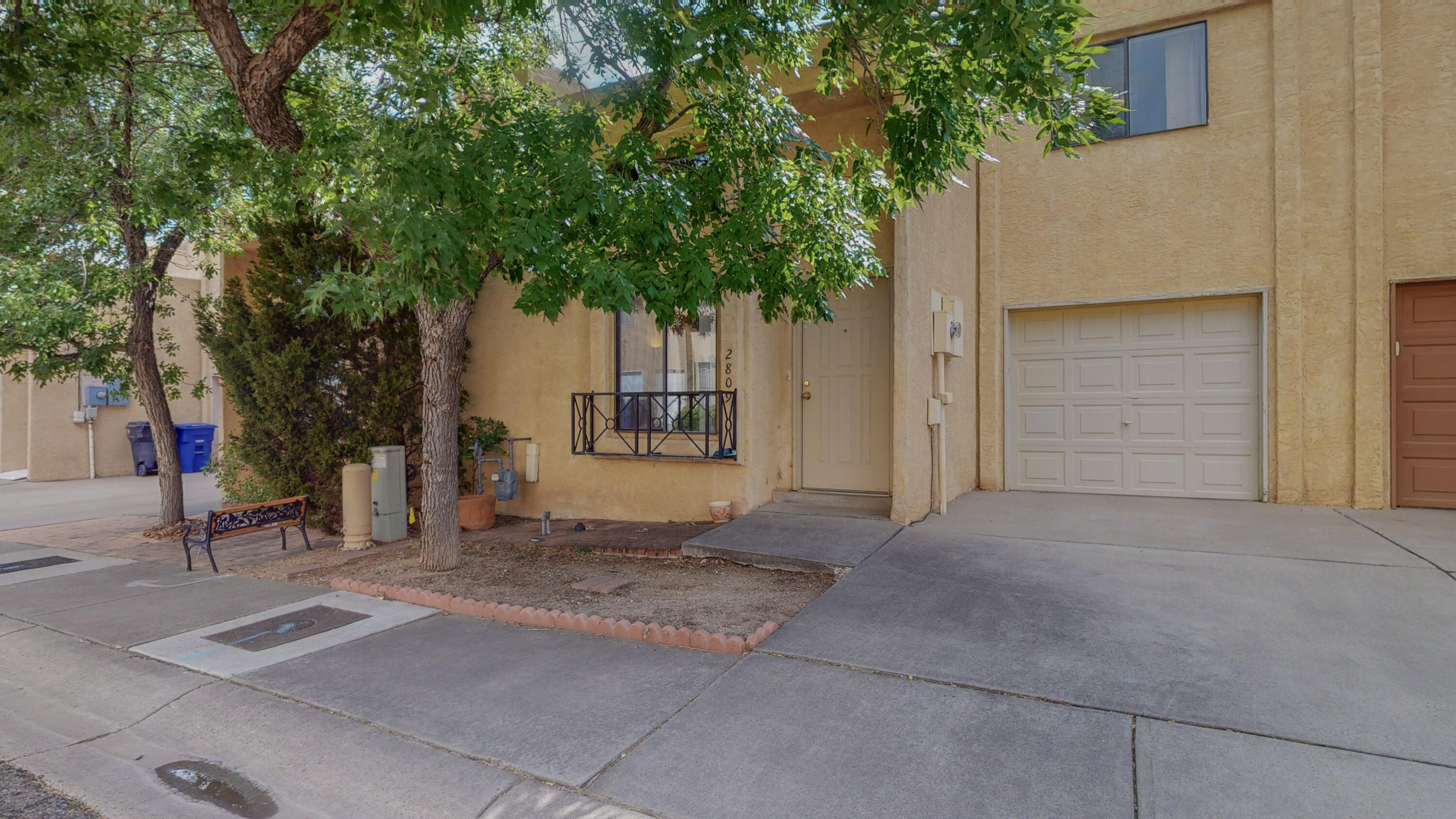 Cute, cozy, and clean townhome is ready for you!  Beautiful Sandia Mountain view from bedroom.  Well-maintained townhome has two master bedrooms and a half bathroom downstairs for guests and for your convenience.  Take care of kitchen tasks with newer dishwasher and stove/oven. Water heater is also new.  Enjoy west-facing patio on summer evenings.  Conveniently located to shopping, dining, walking, and biking paths.  Access to freeway is easy.  Come see it today; tomorrow may be too late!