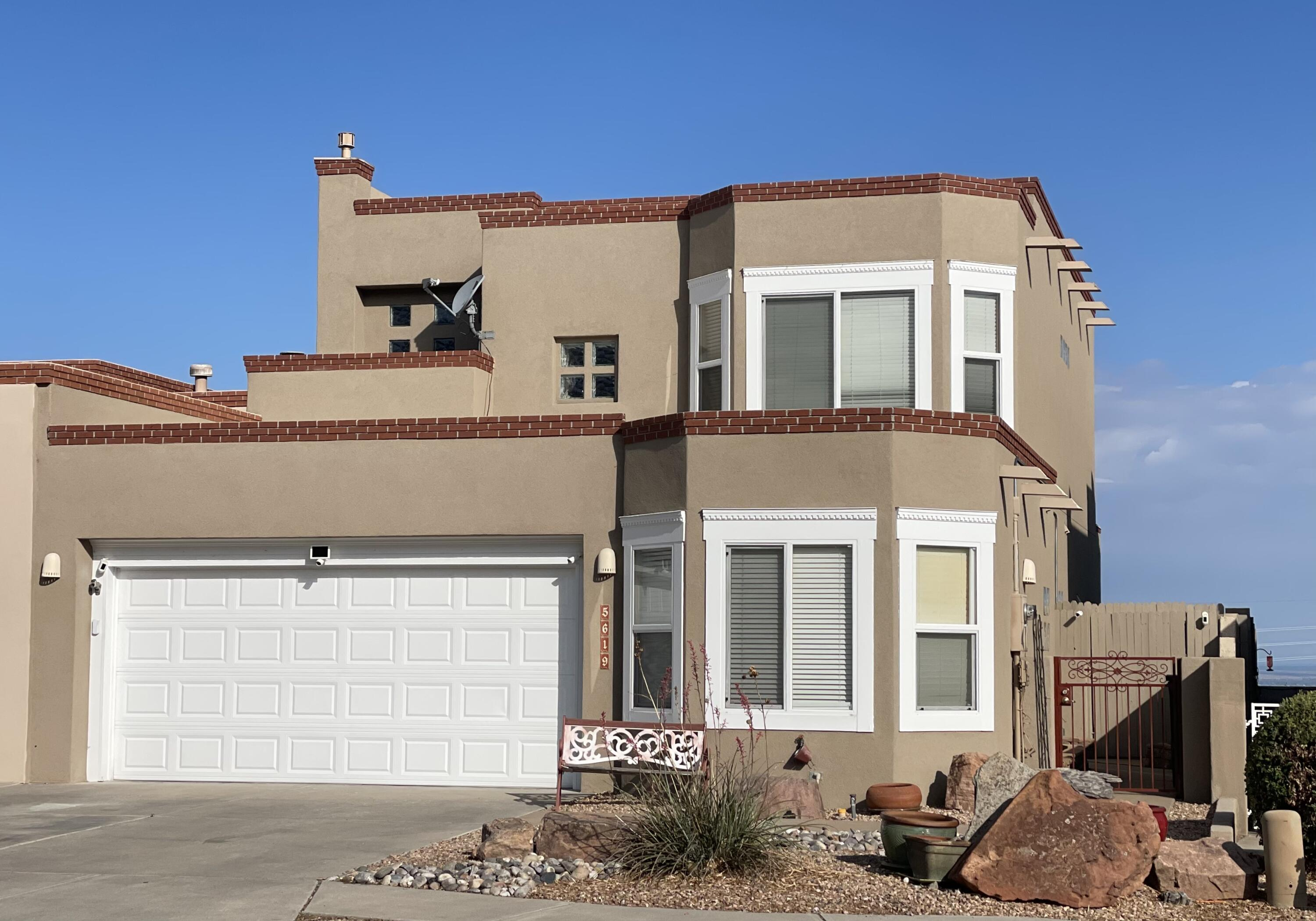 New new price! Seller is very motivated. Did you say views?! Beautiful home in High Desert, with wonderful views, a great floorplan and a second master on the first floor. Brand new TPO roof with 20 year warranty. Stucco 3 years, new screens, widows inside and out sealed, calked and painted. Swamp cooler 3 years, water heater 1 year. The backyard has a hot tub, synthetic turf, and decorative privacy panels. Stainless steel appliances, granite countertops, lots of cupboards. There is an alarm system and a water filter system. The home is attached but not by any common use  walls - a garage and a bathroom far wall. Beautiful community - only one way in and out of the Aerie Community. Come see this beautiful home.