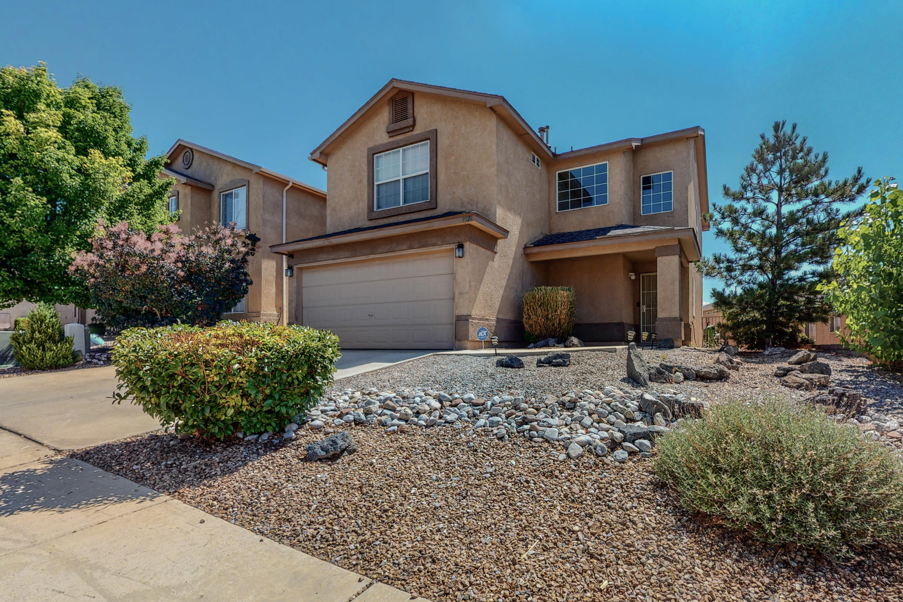 This two story home in Ventana Ranch West subdivision is ready for its new owner. Enjoy the fresh smell of new carpet and new paint through out the house. Chill inside with refrigerated air during those hot summer days.  Walk into a the spacious living room ready for family gatherings or entertaining guests.  The kitchen is open to a large breakfast nook that leads out to the covered patio. All three bedrooms upstairs have spacious walk-in closets to store your prize possessions.  Xeriscaped front and back yards allows you plenty of leisure time to enjoy the walking paths and parks in the neighborhood.