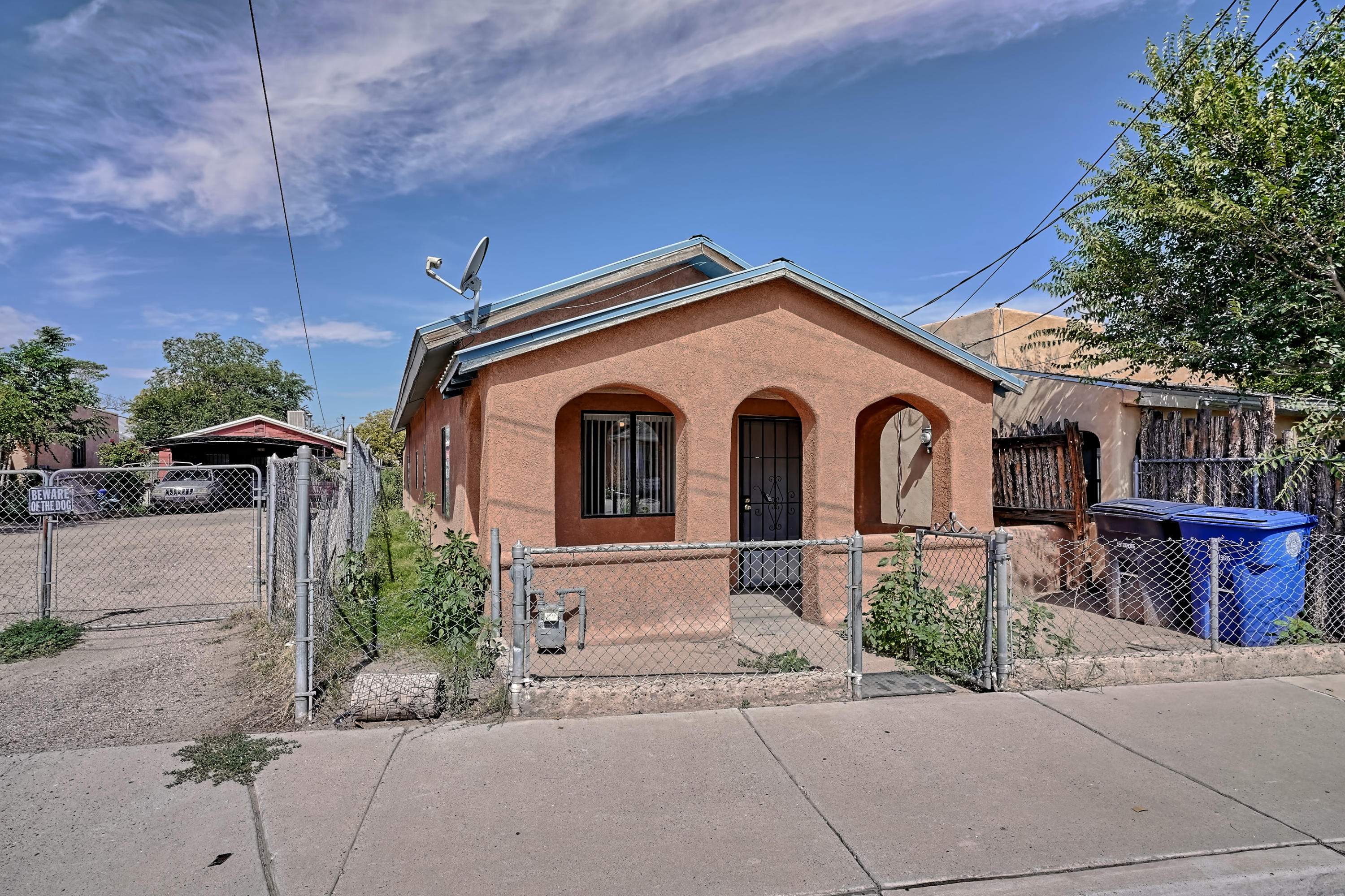 Hard to find affordable home in the Barelas Neighborhood. One bedroom, possibly two with central air and evaporative cooling.  Easy access to Interstate 25, close to UNM, CNM and airport.  Would make a great rental property.