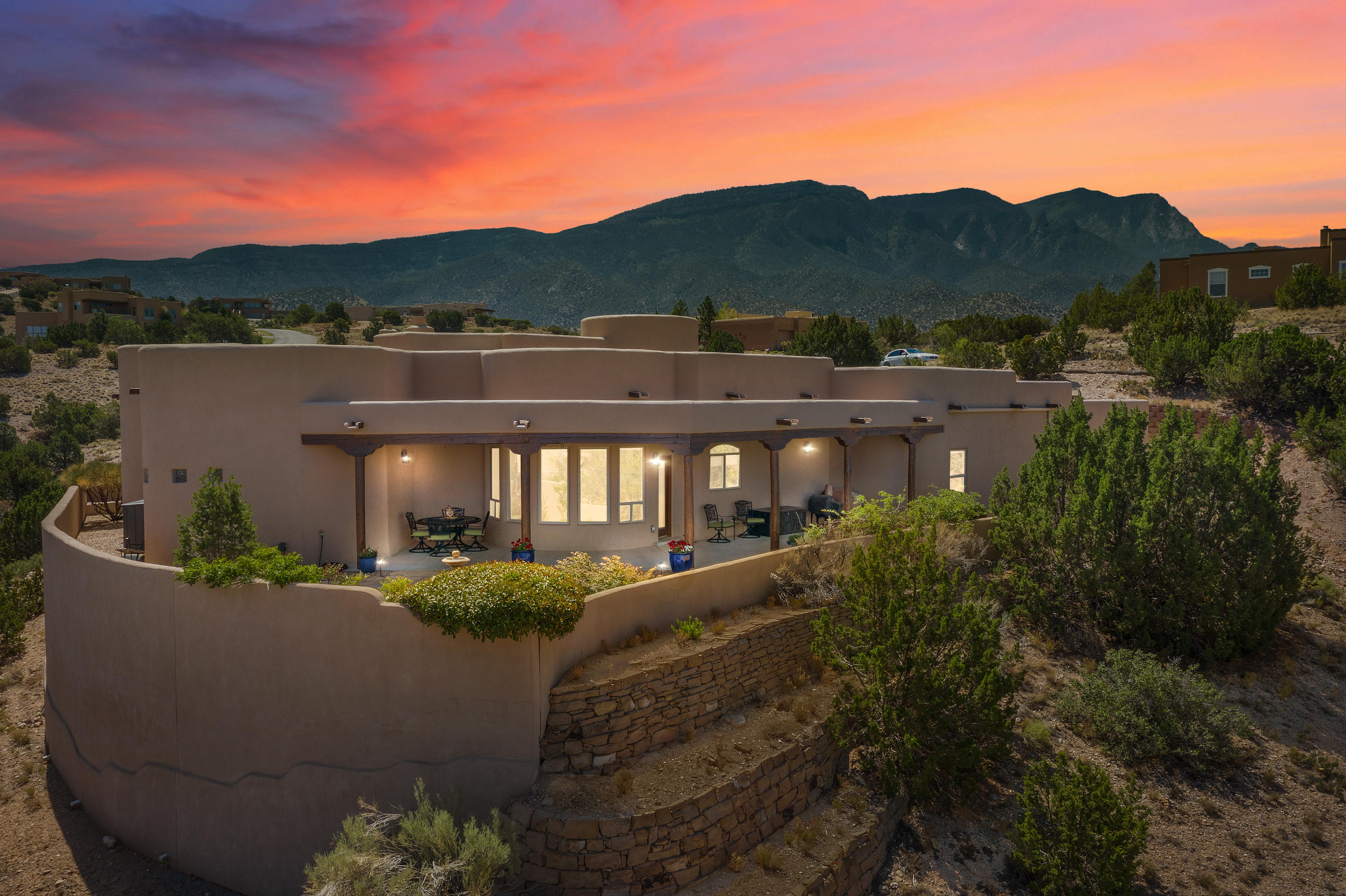 Nestled on a top in beautiful Placitas where the wild horses roam and the beautiful mountain skies abound, this masterpiece was constructed with the highest quality and thought!  Bringing to you 2806 sqft of wonderful 1 story living, 4 bedrooms, 2 full baths, 2 car garage on 1.4 acres of land.  14', 12', 11', 10', 9'  tall ceilings, radiant floor heating, and a good sized back yard for entertaining and sunsets.  This home will delight the pickiest of buyers!! Welcome to Placitas and tranquil living =)49 min to Downtown Santa Fe, 26 min to downtown Abq. and 7 min/ 4.3mi to I25.