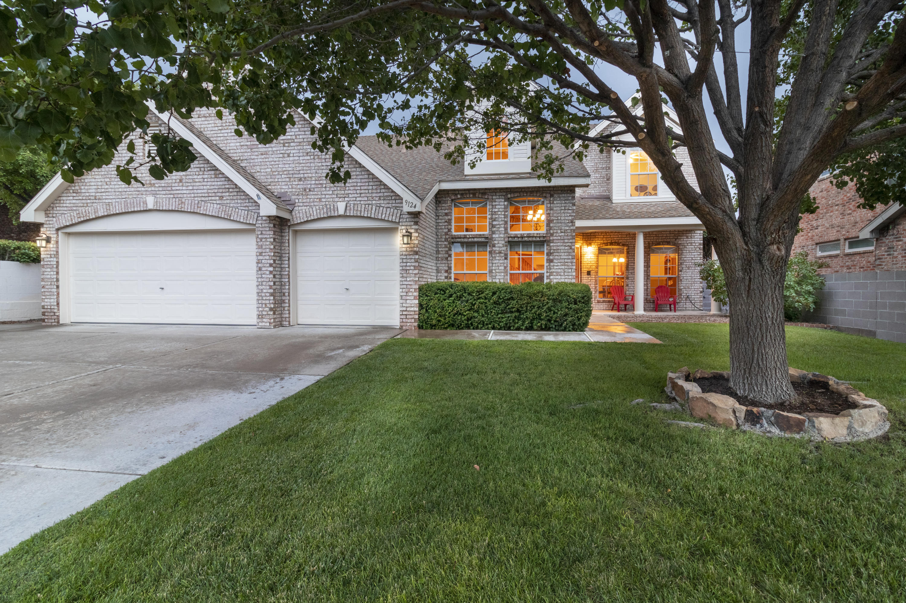 Gorgeous brick, Sivage Thomas home located in the Ridgefield subdivision, in the highly sought after La Cueva school district. This home offers 4 bedrooms (possible 5) with 3 1/2 bathrooms, 3 car garage, Gourmet kitchen and the Primary Suite located on the main floor. Two, 2019 gas furnaces and two, 2020 evaporative coolers as well as water softener multiply the level of comfort you'll find when entering this home. The backyard offers a large, covered patio that provides privacy and creates a perfect place to sit back and take in the amazing mountain views. This home backs up to a quiet arroyo and is walking distance to several parks. Both hiking and biking paths are just minutes away. Absolutely terrific location, a definite must see