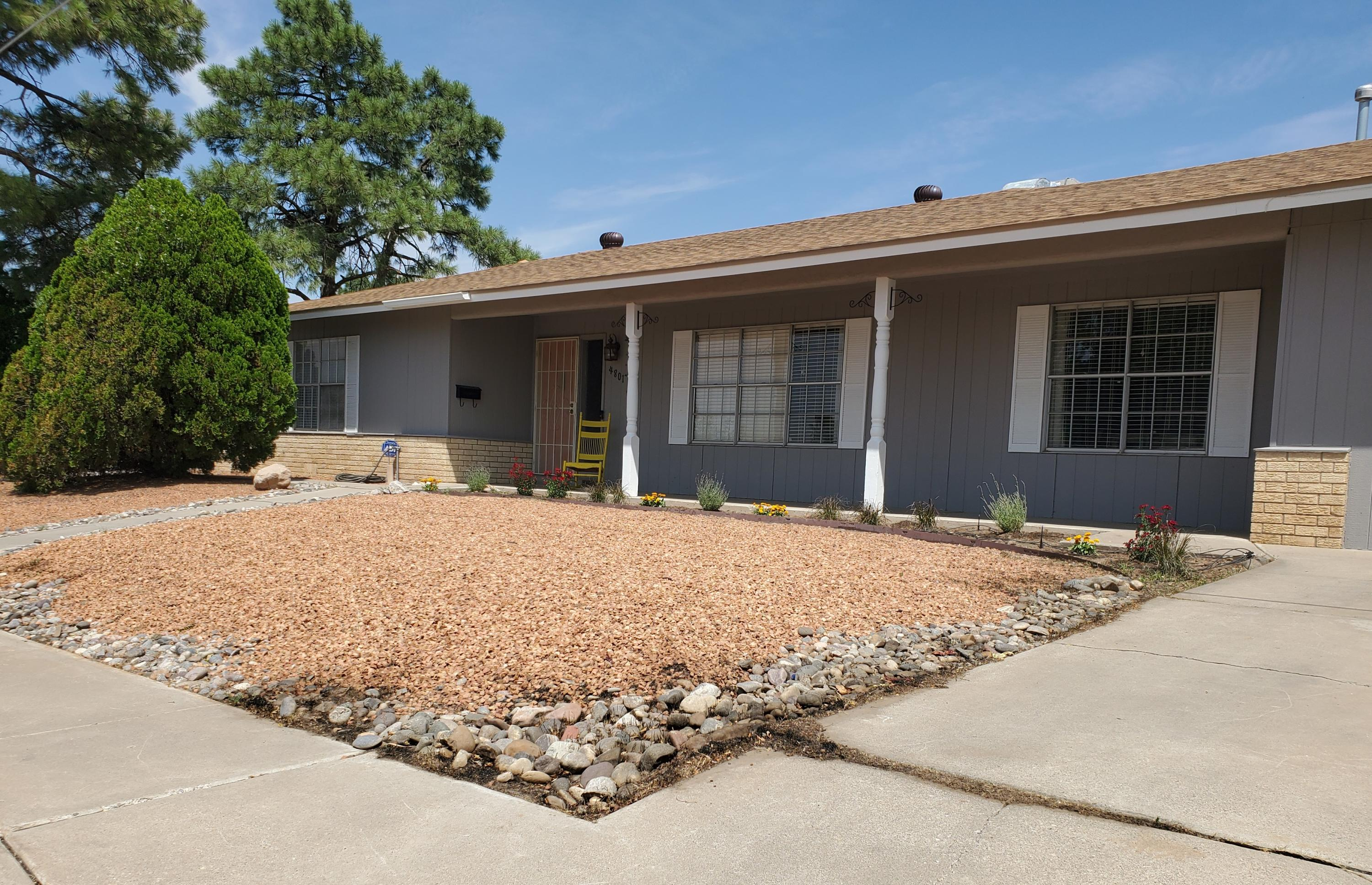 Great home in a great location! This quiet neighborhood north of UNM is near Nob Hill and convenient to most of the city. This very spacious house sits on a large corner lot and has many updates. Bamboo floors in living and dining areas, tile in the kitchen and warm carpet in bedrooms. Two Primary Suites with their own bathrooms and a third bathroom too.  They have all been updated! 4th bedroom could also make a great office. The kitchen is very large with plenty of cabinets and room for a breakfast nook.  Stainless appliances stay. Outdoors you will find a large deck and a patio that are great for entertaining.  The large storage shed has plenty of room and you will love the shade from the mature trees. Roof replaced in 2019. Don't miss this one!