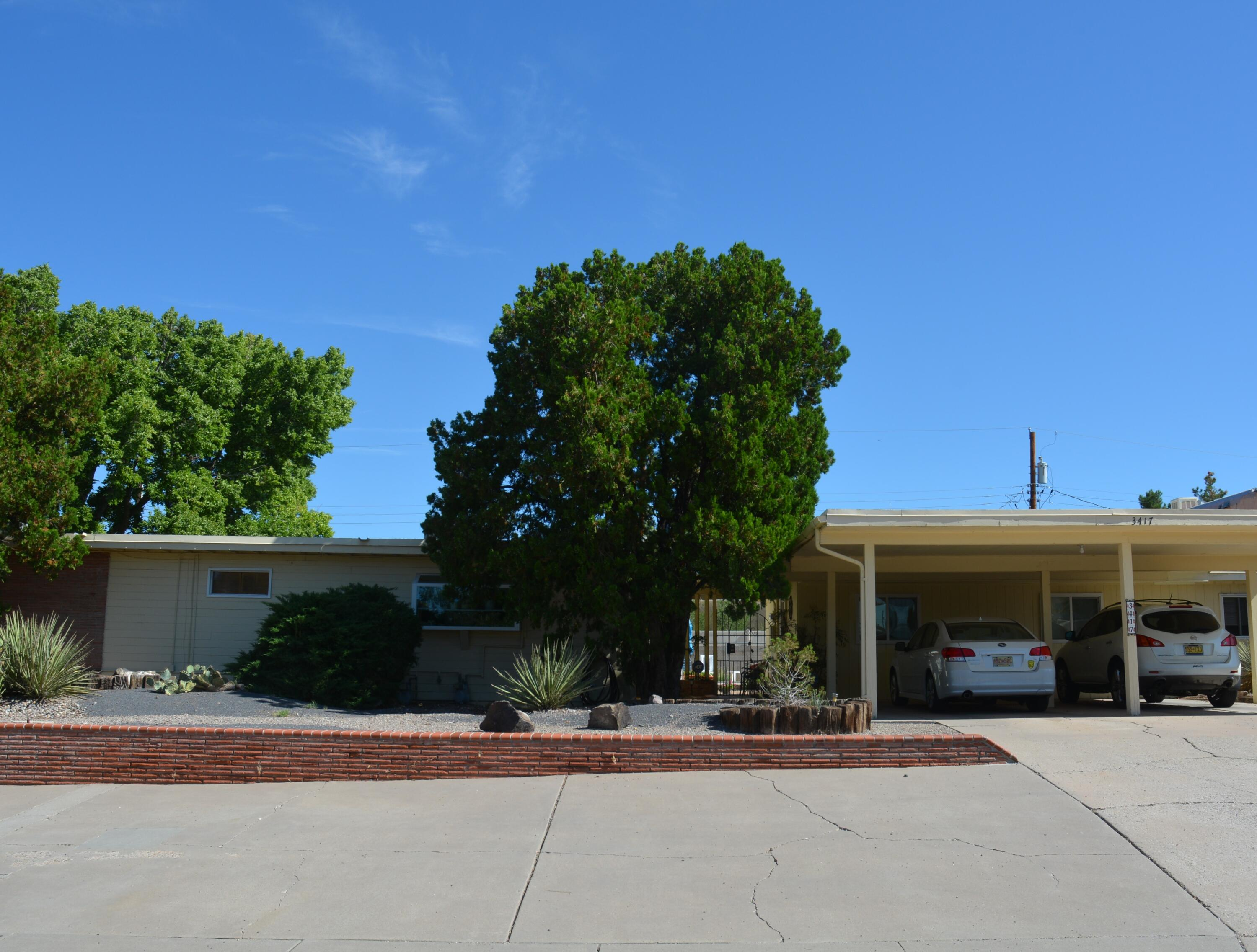 Looking for a Mid Century modern home, on .46 acre, with pool that's only 1 mile from Nob Hill shopping center? Well come see 3417 Smith.  Main house is 3 bedroom 2 bath AND Home comes with 800SF  pool house that  would make a great home office or  casita! Main house has newer 97 efficiency rated furnace. Park like back yard has tons of room for any future home expansion if desired. Close to Nob Hill shopping and dining, Puerto Del Sol golf course, Bandelier Elementary, Burton park, Hyder park & Micheal Thomas for your morning coffee. Don't miss seeing 3417 Smith.