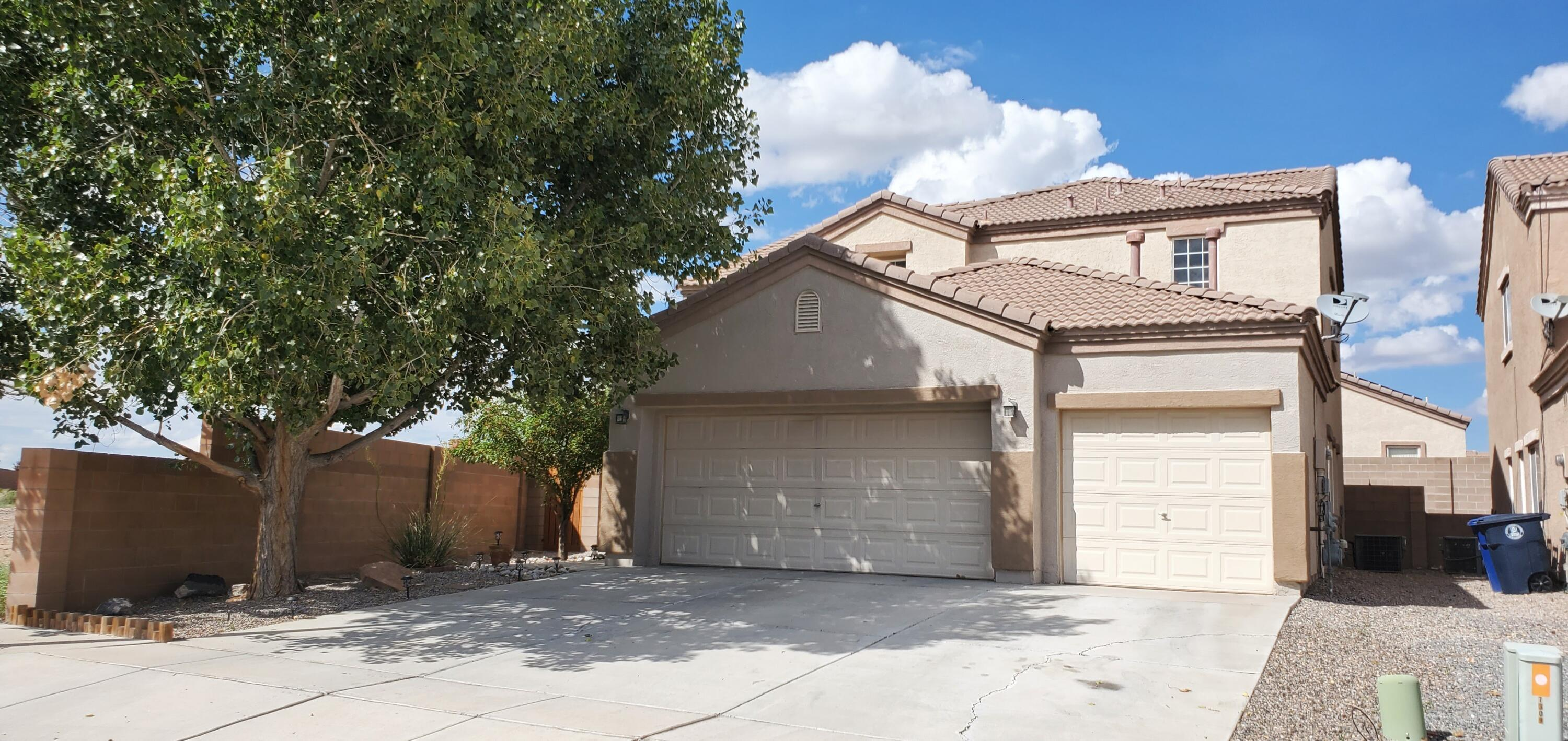This beautiful & spacious corner lot, 4 bedroom, 2 3/4 baths, 3 car garage home is a must see! Downstairs features an open floor plan, with 2 living areas, large kitchen, bedroom and 3/4 bathroom. On the second floor you will find the laundry room with a walk in closet, second and third bedrooms, and double sink bathroom. Upstairs master bedroom has a private balcony, large bathroom with garden tub, and oversized walk-in closet. New water heater, carpet, blinds, and a soft water filtration system throughout the entire house. This fabulous corner lot home has a large backyard that wraps around the west side of the house, peaceful for relaxing and ample space for entertaining. Walking distance to parks and schools.