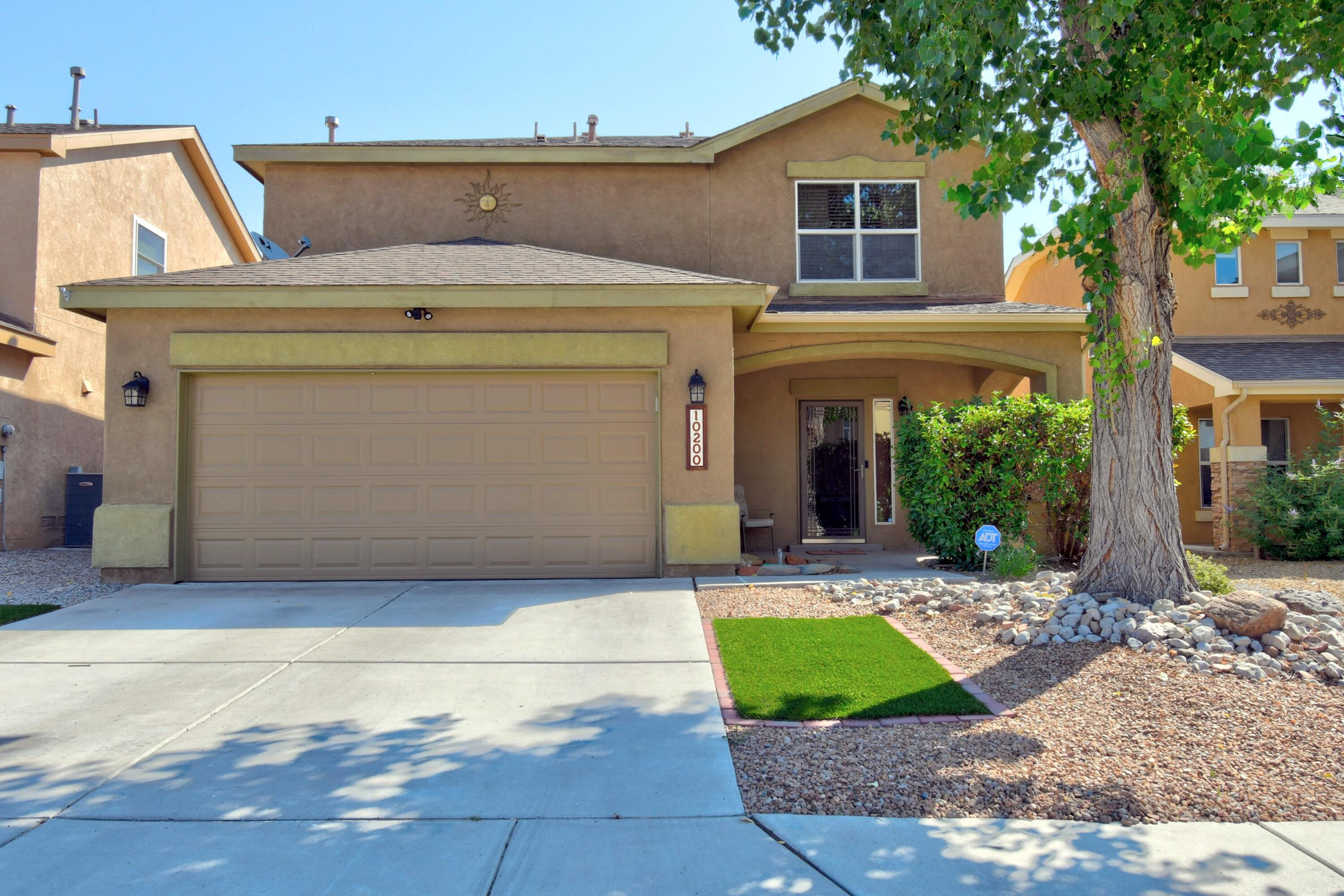Welcome Home to this move-in ready Pulte.  Well cared for home with open floorplan for entertaining or sharing time with your family.  Low maintenance landscape complete with turf.  The master suite includes walk in closet with garden tub and double sinks.  The master also boasts amazing views of the Sandias.  Two guests bedrooms and laundry complete the upstairs.