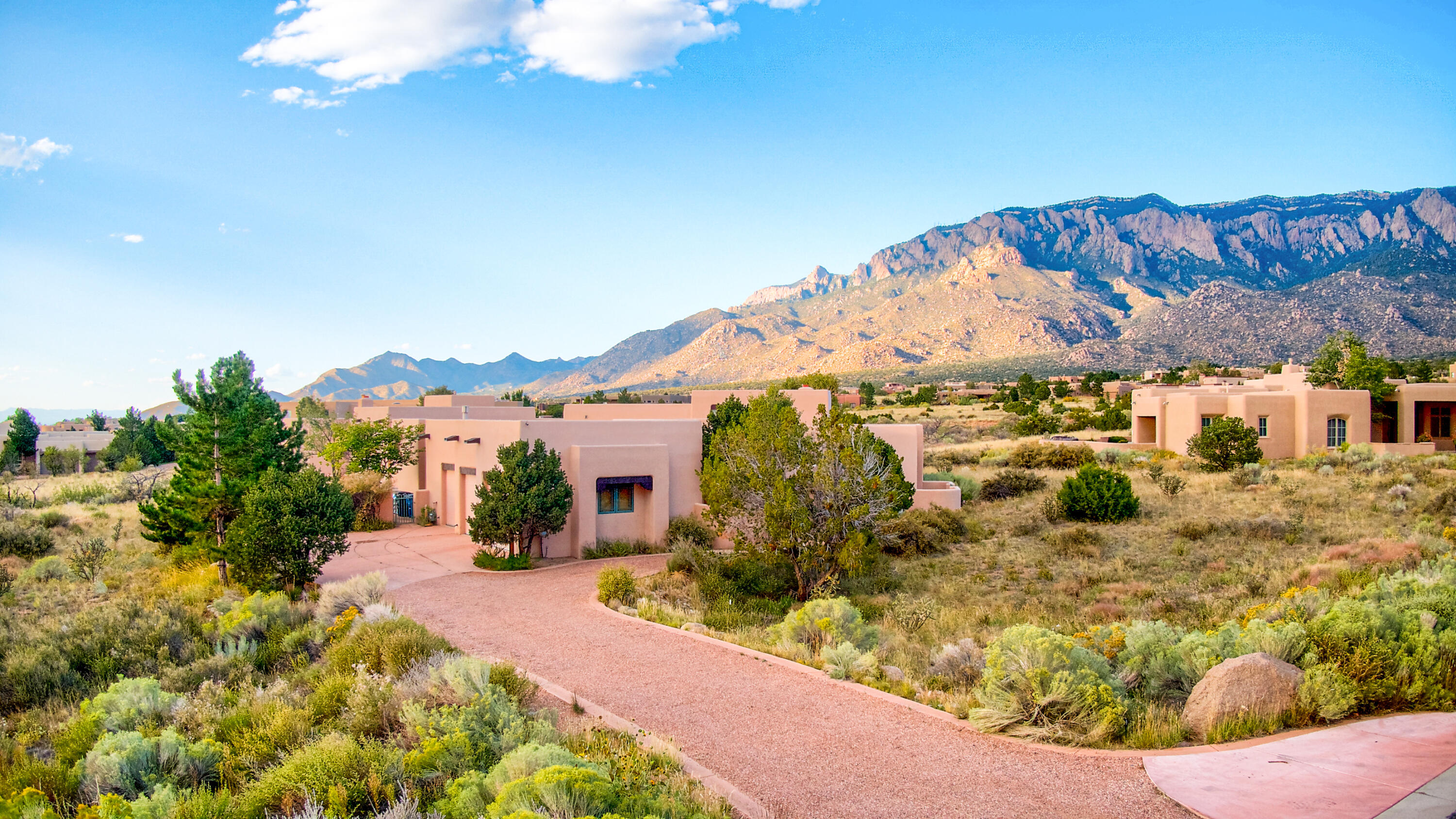 Live right at the edge of the Sandias! This custom built home is perfectly oriented to take full advantage of mountain views at all times of the day.You'll love your private owner's suite oasis, complete with its own sitting area around a fireplace, a spacious owner's suite bathroom with a gorgeous soaking tub, separate shower, and spacious walk-in closet.There are so many wonderful ways to use this space - a fully finished basement den, complete with its own wet bar, living room and half bath is perfect for entertaining or creating a possible large bedroom suite. The kitchen's orientation is perfect for indoor/outdoor living, with gorgeous views and easy access to your own private pool.You'll be hard pressed to find a home of this stature within this price range in High Desert