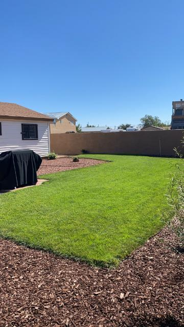 Large corner lot. Home features 4 bedrooms and 2 full baths! Walled backyard beautifully landscaped with beautiful grass, decorative rock and storage shed.