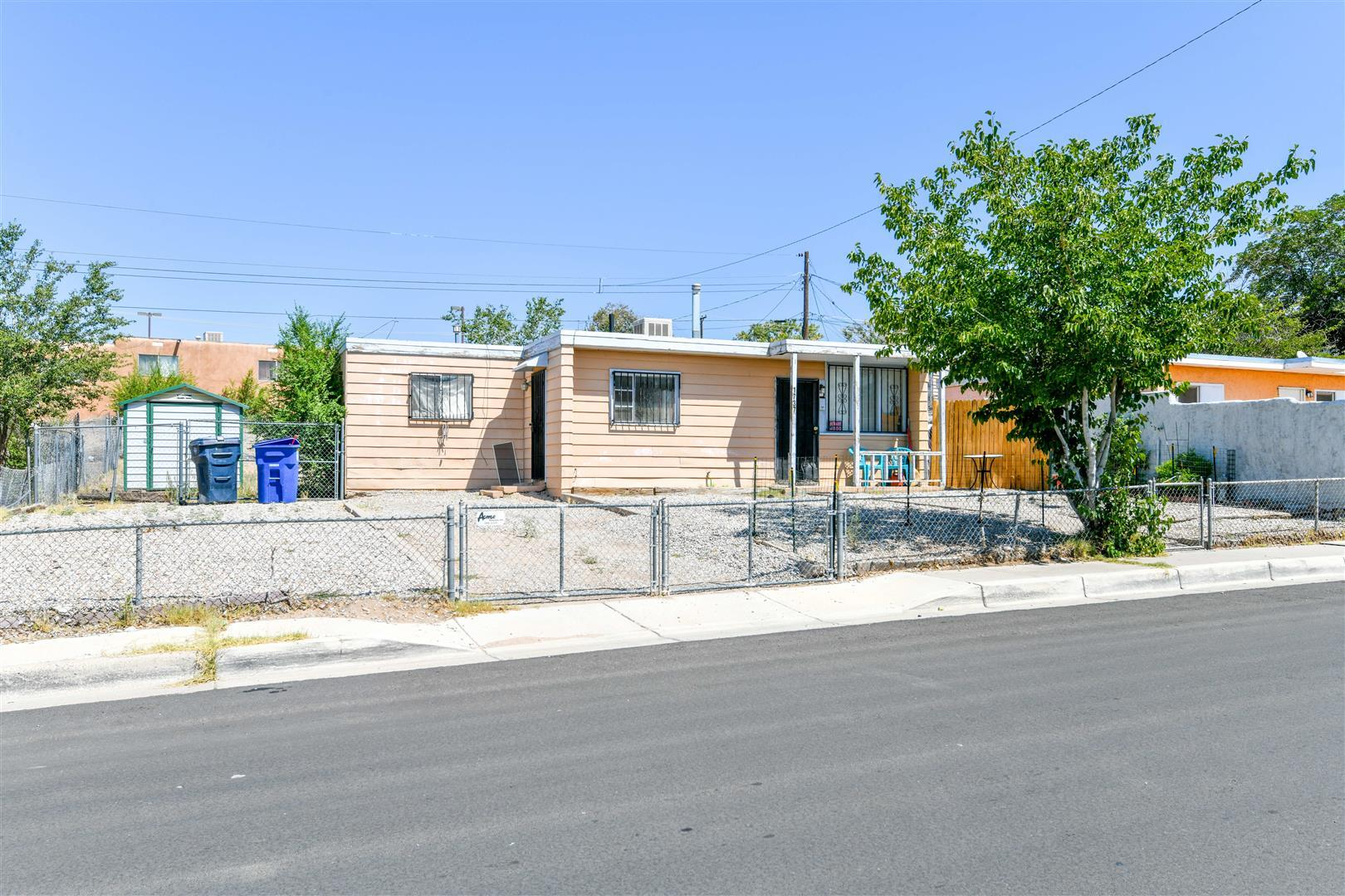 Cute 3 bedroom 1 bath bungalow!  Light and bright!  Property is fully fenced. Seller asserts the roof was replaced 2010 and mastercool evaporative cooler in 2019.  Backyard access including gated off street  parking with room enough for several vehicles.  Storage shed stays.  Home Is Here!!
