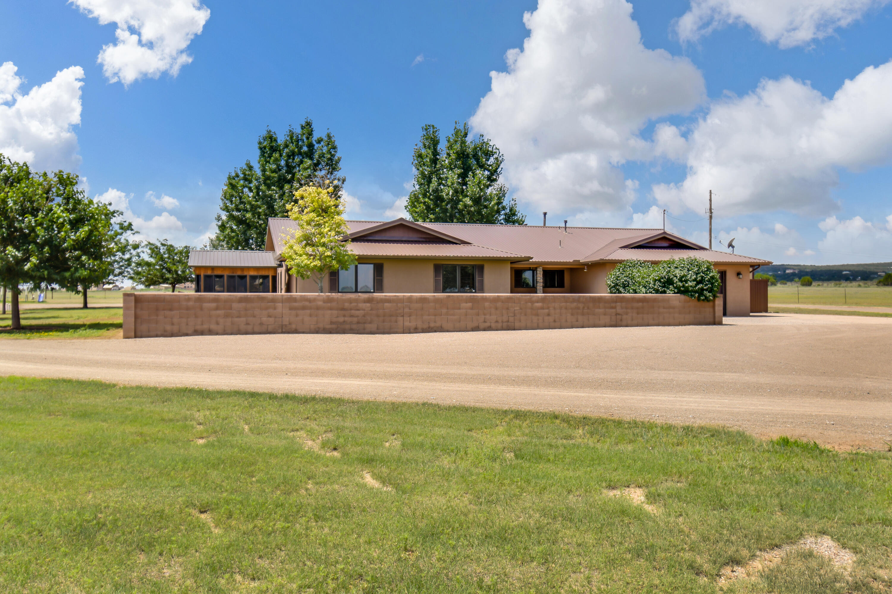 **Accepted Offer with a 72 hour First Right of Refusal** This stunning horse property is a rare find of country living at its finest. Just minutes from Edgewood and I-40, 25 minutes into Albuquerque and 50 minutes to Santa Fe. Gorgeous, well maintained and loved 1994 Crombie Custom-Built 2578 sq ft, 3 bedroom, 2 bathroom home. This home faces northeast with beautiful views of South Mountain and The Sandia's. The home has custom Red Oak/Walnut with brass inlay wood flooring and ceramic tile. Red Oak cabinetry and doors, newer Granite counters throughout, remodeled kitchen in 2017, newer stainless steel appliances, updated fixtures, double ovens for the chef. Bathrooms were remodeled in 2019. See More....