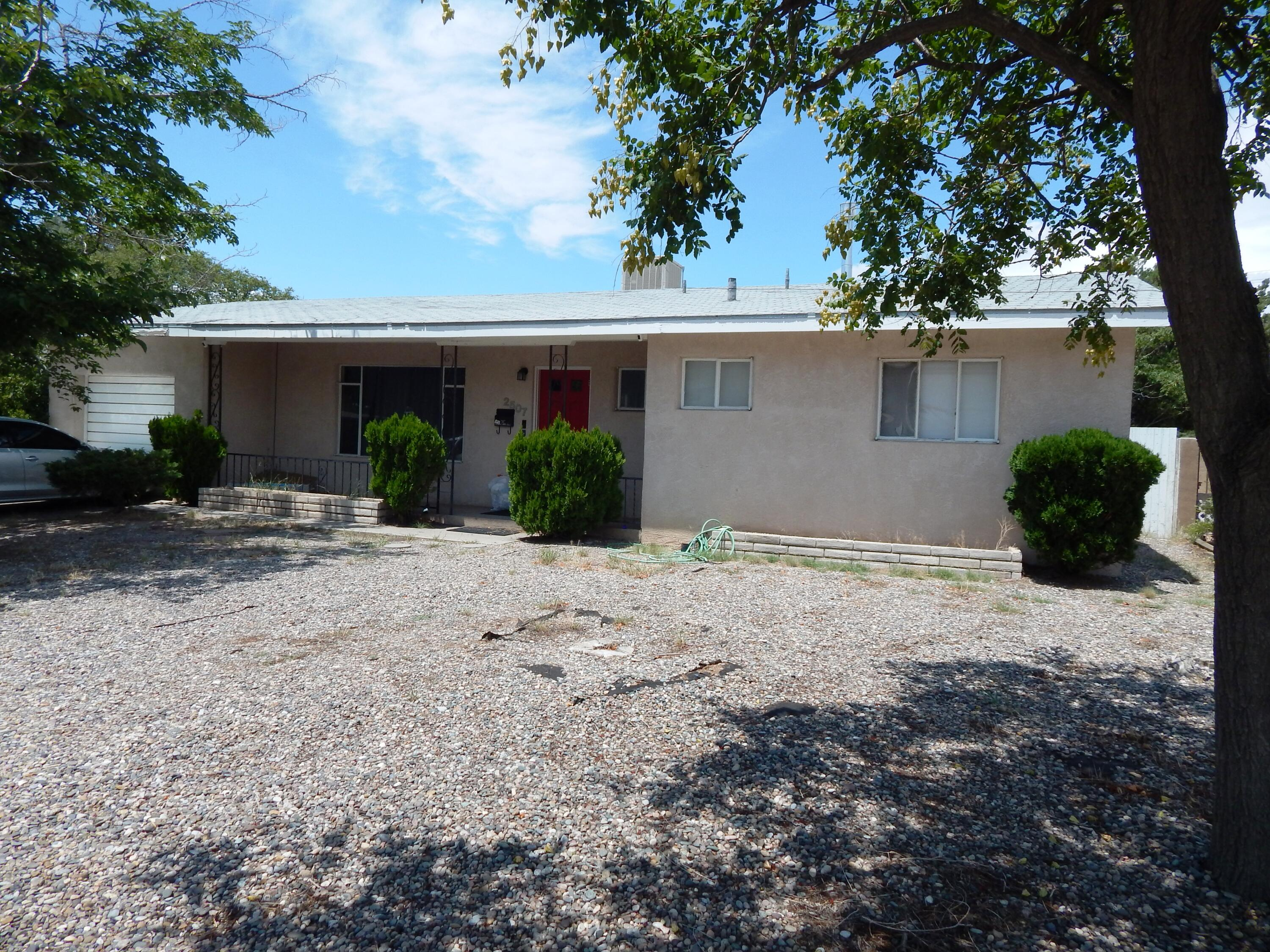 A Great Location and Close to UNM at a good price. Home is being sold as is and is available for a Renovation Loan. Seller will not pay for repairs or updates, with a Renovation Loan you can have it done your way. (If Needed, Information on Renovation Loans may be requested through Listing Broker by your Realtor)  Large Pool with Water Fall from connected Spa. Lots of Room with 2 Living Areas.( Rent currently collected is not typical for this home, It was a special discount to benefit the current Tenants)