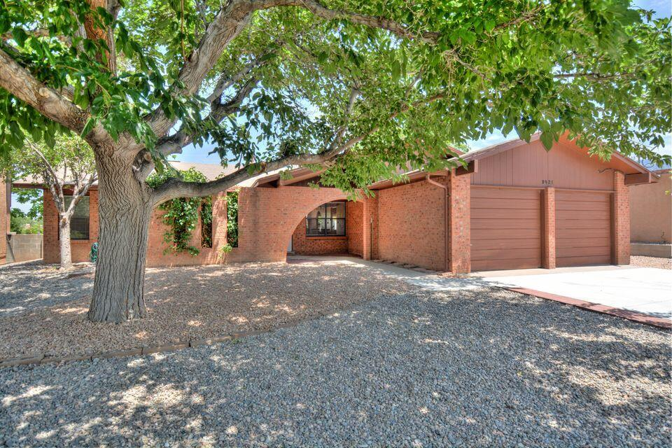 Nice Ranch style home in the Cherry Hills Subdivision.  It features 2 living areas, 3 bedrooms, a spacious kitchen and a 2 car garage.  The kitchen is open to the family room and it has a breakfast nook and 2 pantries.  The backyard has Sandia Mtn views and backs to an arroyo.  There is a covered patio and a storage shed.  A new shingled roof installed last year.