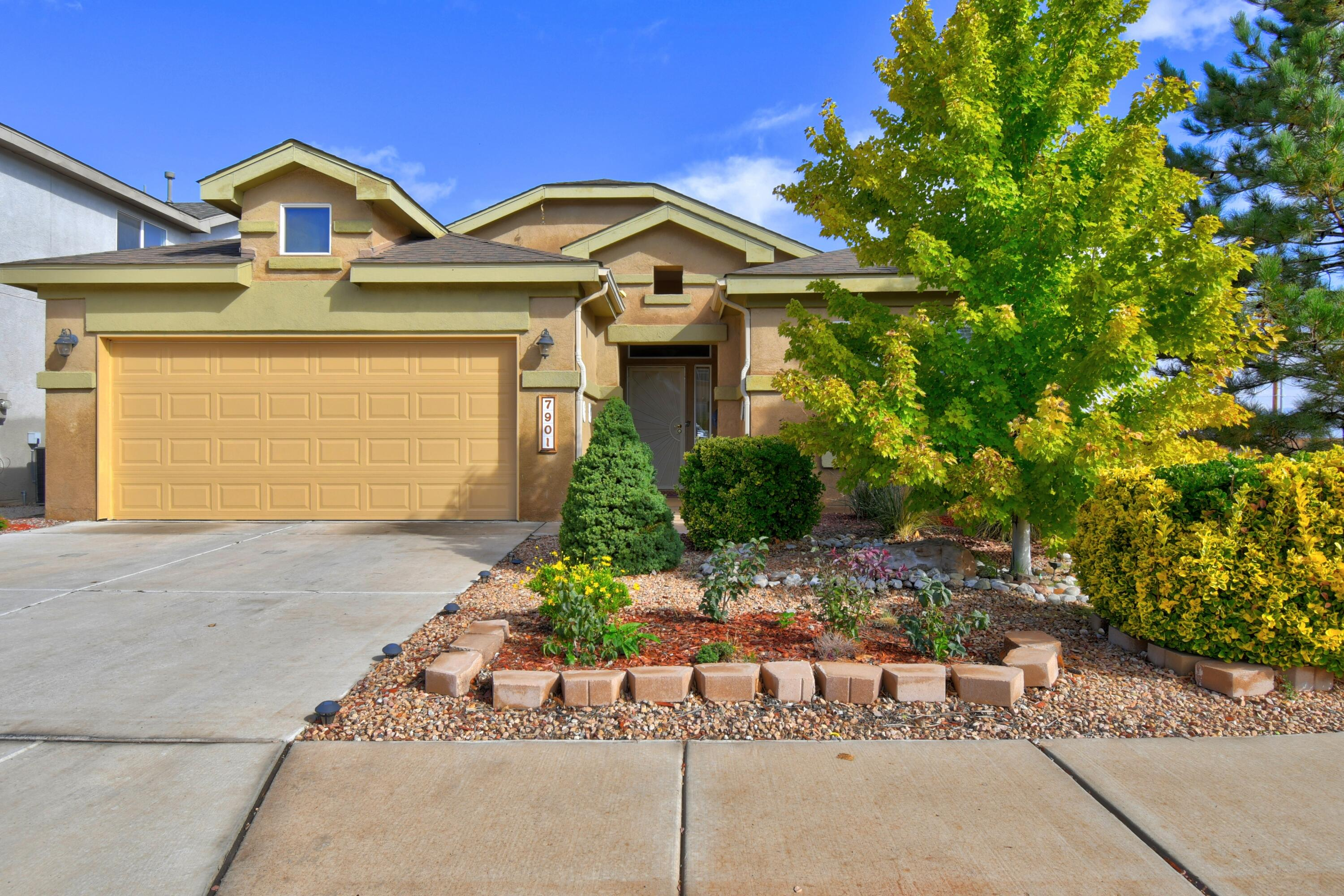 This Pulte single story 4-bedroom, 2-bath home is situated on a  premium corner lot in Ventana Ranch. Offers beautiful views from the manicured backyard that backs up to open space.  Spacious foyer welcomes you as you enter this well maintained home.  Has a comfortable and flowing floor plan, split bedrooms for privacy. Kitchen has a large breakfast bar that is open to the Great/Dining room area. Spacious master suite with jetted tub and separate shower, huge walk-in closet & water closet. Fully Xeroscaped front and back yards with drip system. All appliances stay along with washer and dryer. Must see...