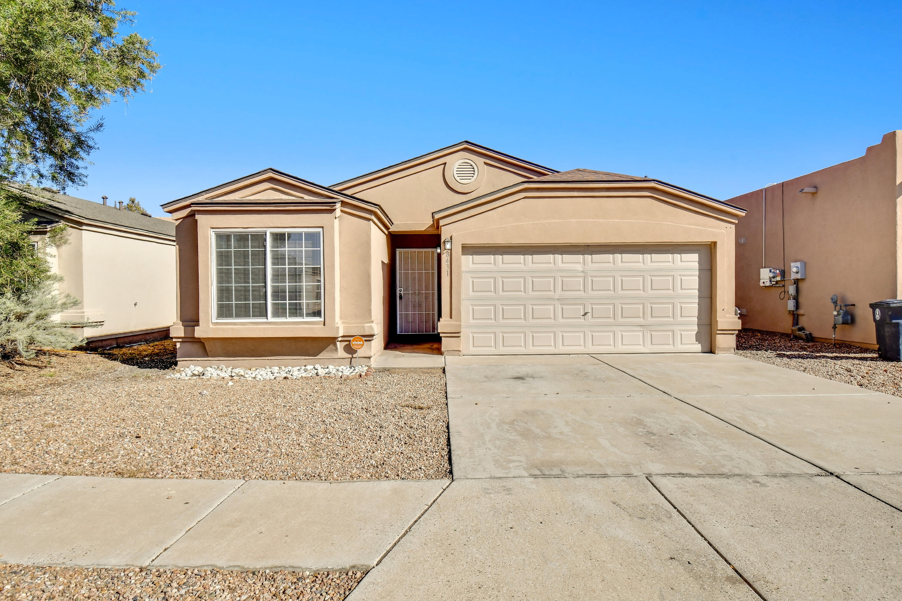 This move in ready, 1,574 sq. ft., 4 bedroom and 2 full bath, single story home sports a clean, open design and an easy maintenance, roomy backyard. Enjoy plenty of natural light and cool refrigerated air in the summer months. The split master floor plan boasts a master bedroom that incorporates a walk-in closet and an enormous garden tub. Stay cozy in the winter and delight in the calm ambience of the living room's gas fireplace. The kitchen provides good countertop space and cabinetry - ready for entertaining friends or family for dinner. The yards are nicely rocked and the backyard has a flagstone patio area. This sparkling home has much to offer and plenty of opportunity. Make an appointment to see it today!