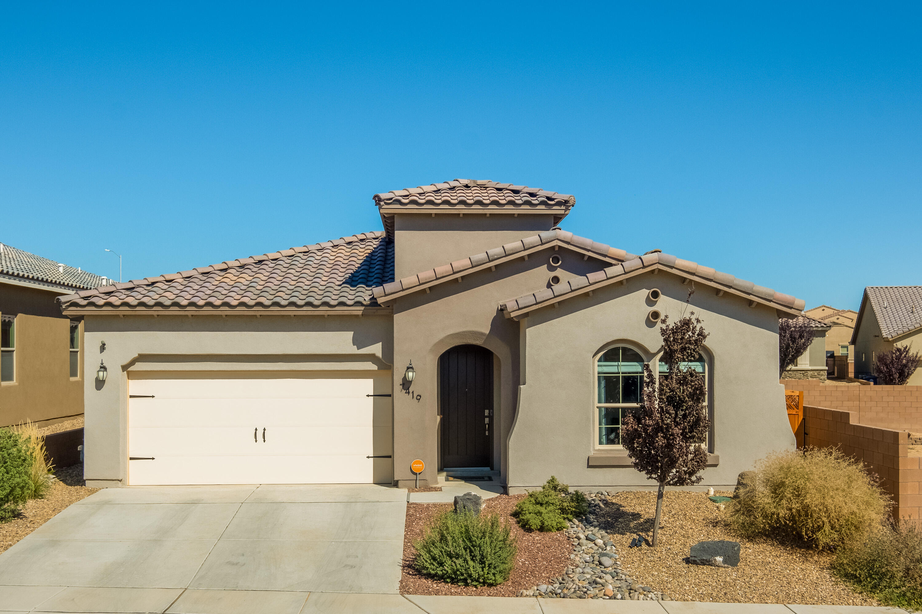 Gorgeous 4 bedroom Haakes Brothers home in move-in condition in lovely,  subdivision. No need to buy new and spend more when this home is young, move in ready and has landscaping, window coverings, Vivant smart home system, water softener, built in Pest Defense system and tankless water heater. Home has fabulous kitchen with quartzite counters, striking tile and beautiful cabinetry. The house has beautiful design elements with raised and trayed ceilings, tall doors and lovely tile plank floors. The master is separated from the other bedrooms and the master bath has a wonderful, huge shower and walk-in closet. The backyard has grass with automatic sprinklers and mountain views. The entry to the home feels like a gallery and it's a pleasure to walk in and enjoy this very special home.