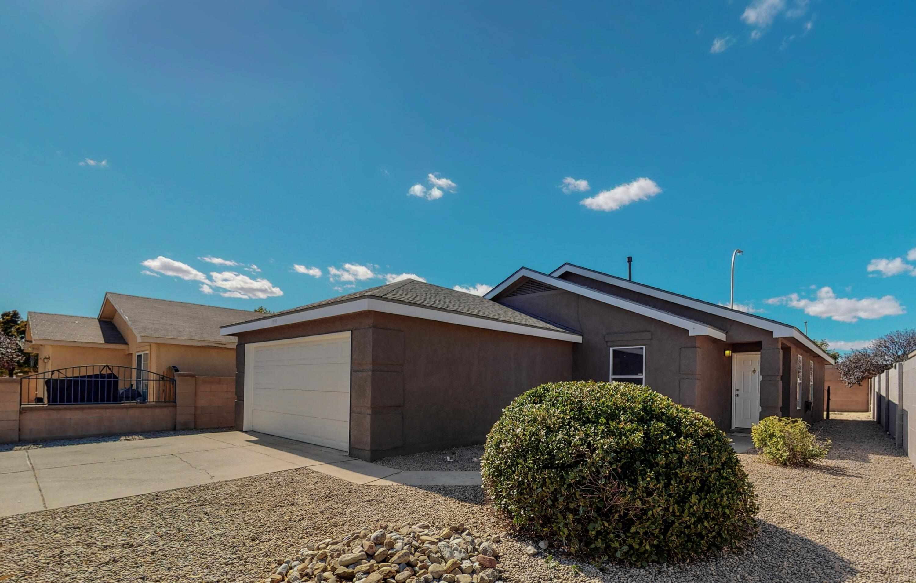 Welcome to Albuquerque's' Desert Springs. Your new home is appointed in a way that includes everything you could ever want! This Location is convenient to the interstate Amazon and several shopping opportunities. This light and bright spacious floor plan will not leave you disappointed. Your new home is situated with a large living room, an open concept, all the while an abundance of natural lighting pours into your eat-in Kitchen. The kitchen adorns a freshly face lifted painted cabinets, stainless-steel appliances, brand new granite countertops, and new plumbing fixtures. The yard is just big enough to make an oasis but not so large that it takes all your time to maintain. Evaporative air, vinyl windows, and updated bathrooms round out some of the recent improvements! Don't miss out!