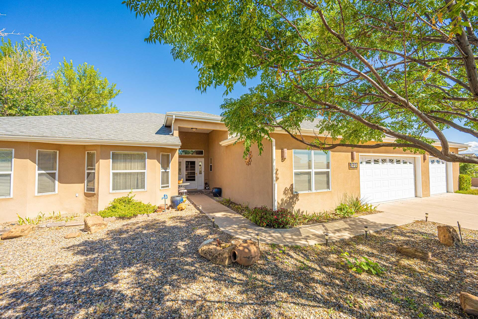 Superb quality custom home in the desirable Valley View area of Los Lunas!  Light & bright floor plan features roomy 2,873 sq ft, 2 living areas, 4 bedrooms, 2-1/2 baths., office (could be 5th bedroom).  Kitchen has unique custom cabinetry, large island & deluxe appliances. Family Room has French doors leading to a covered patio.  Large Master Suite with walk-in closet and luxury bathroom with jetted tub, separate shower, double sink vanity.  6 mini-split units refrigerated air/heat combo.  Plus economical radiant under-floor heat. Backyard access and 3-car attached garage.