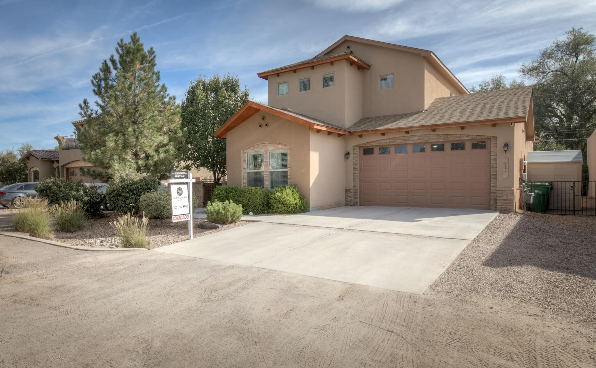 North Valley, Green Built Home! 1 main level master & 1 upstairs master makes this a versatile floorplan w/ plenty of space & options for everyone! Open kitchen concept w/ breakfast bar, stainless appliances, granite countertops, glass accent & tile backsplash.  Main level office has direct access to the backyard.  Upstairs has a large loft & 4 additional bedrooms.  Refrigerated air, tankless water heater, LED lighting- this property boast a NM Gold energy efficient rating!  This property has been well cared for & feels like home. Great entertaining in fully landscaped backyard w/ open + covered patio spaces, manicured lawn & side yard access!  Excellent storage + tandem 3-car garage! Centrally located w/ easy access to Paseo, restaurants & trails- schedule your showing w/ a Realtor today!