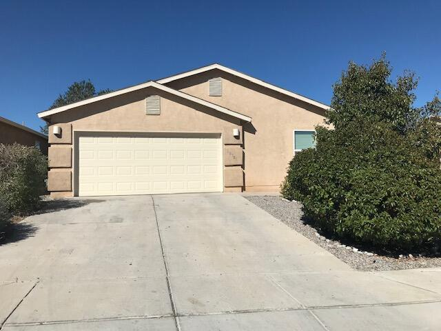 Lovely 4 bedroom Centex home with open floorplan and raised ceilings, 2 full baths, and a 2 car garage.  Large master features walk in closet, garden tub, separate shower, and double sinks.  Fresh paint and new carpet